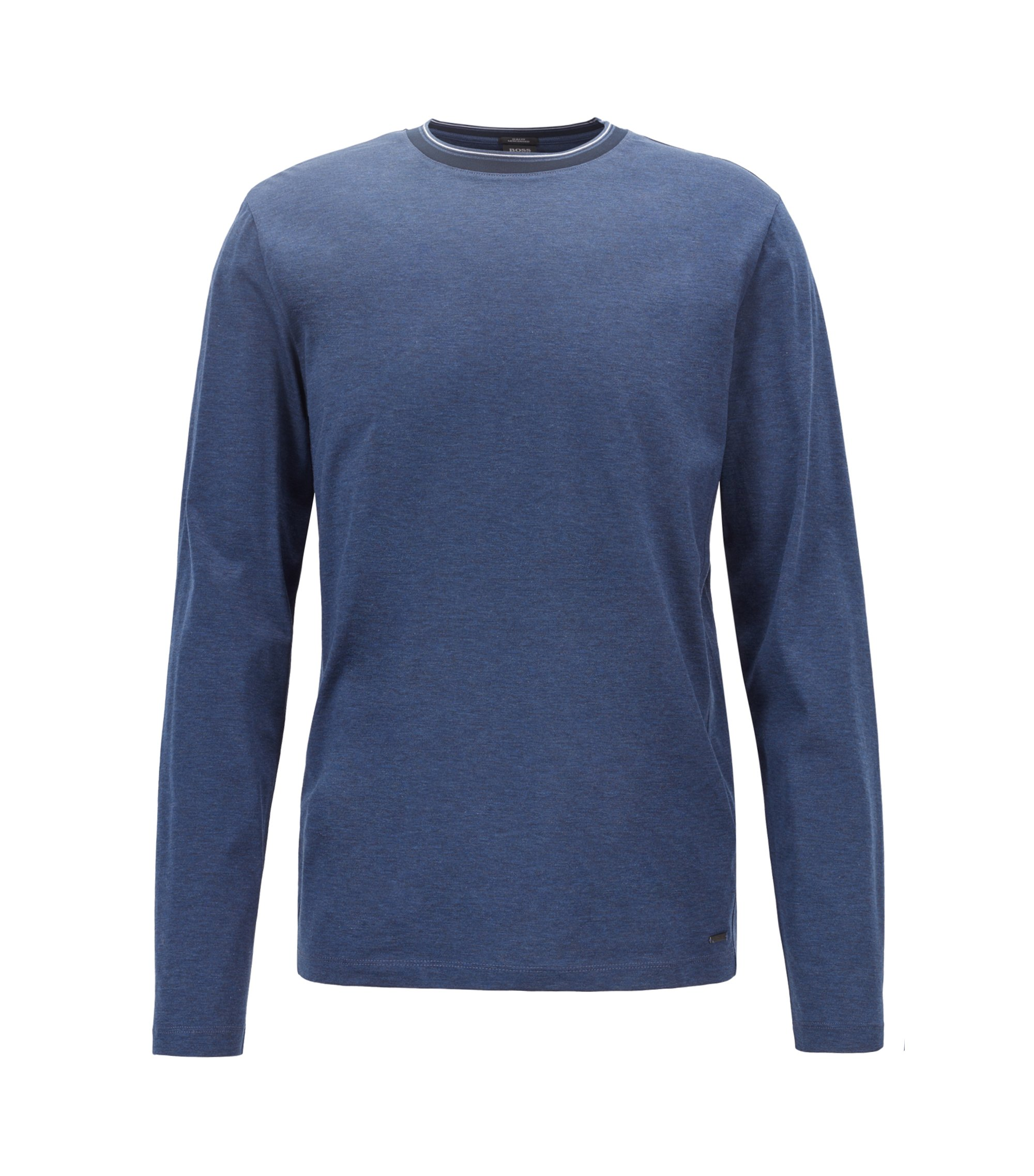 Long-sleeved T-shirt in mercerized cotton with striped neckline, Open Blue