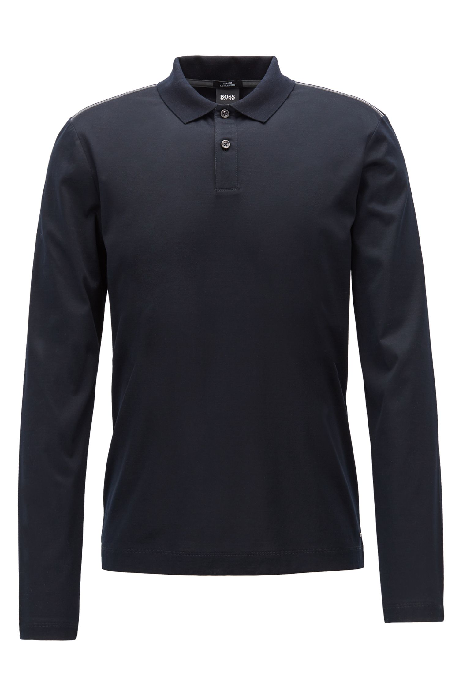 Slim-fit long-sleeved polo shirt in mercerized cotton, Black