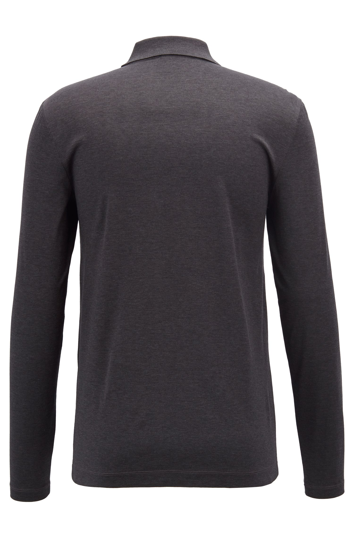 Slim-fit long-sleeved polo shirt in mercerized cotton, Open Grey