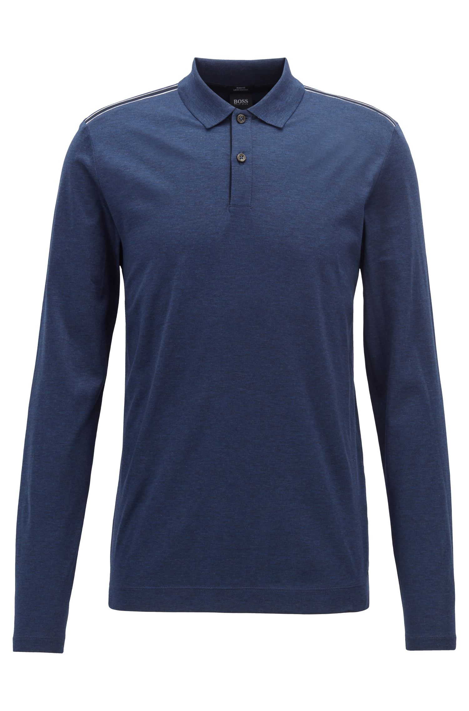 Slim-fit long-sleeved polo shirt in mercerized cotton, Open Blue