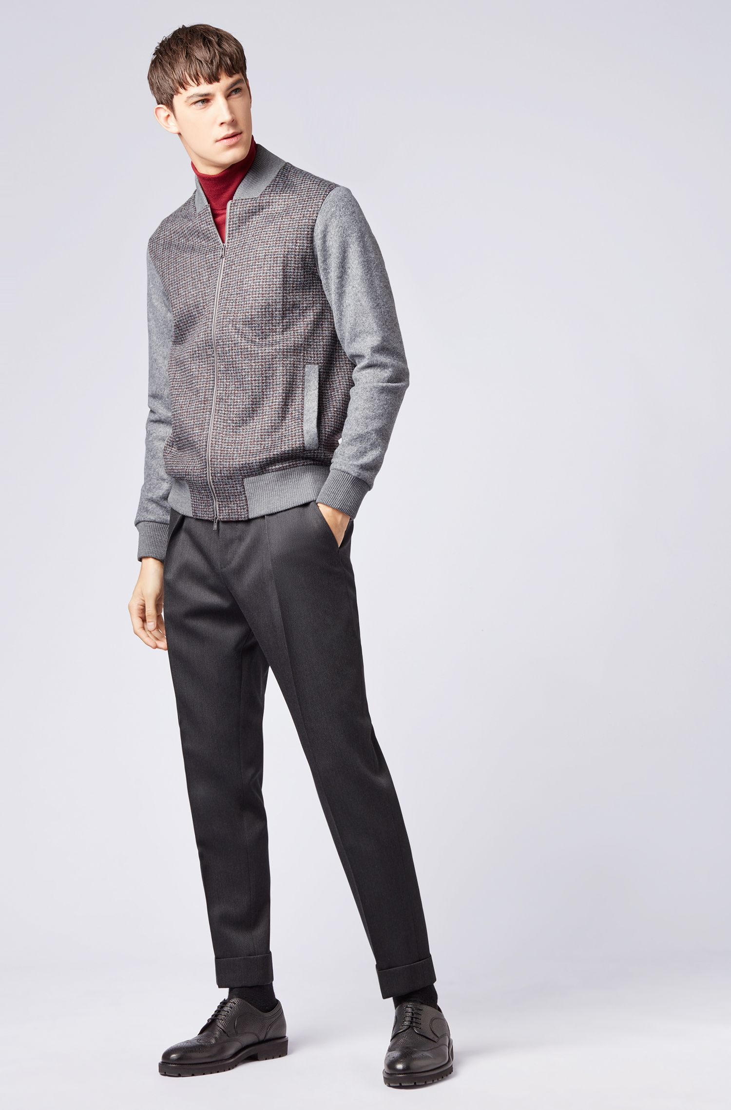 Slim-fit sweatshirt in Italian fabric with college collar, Silver