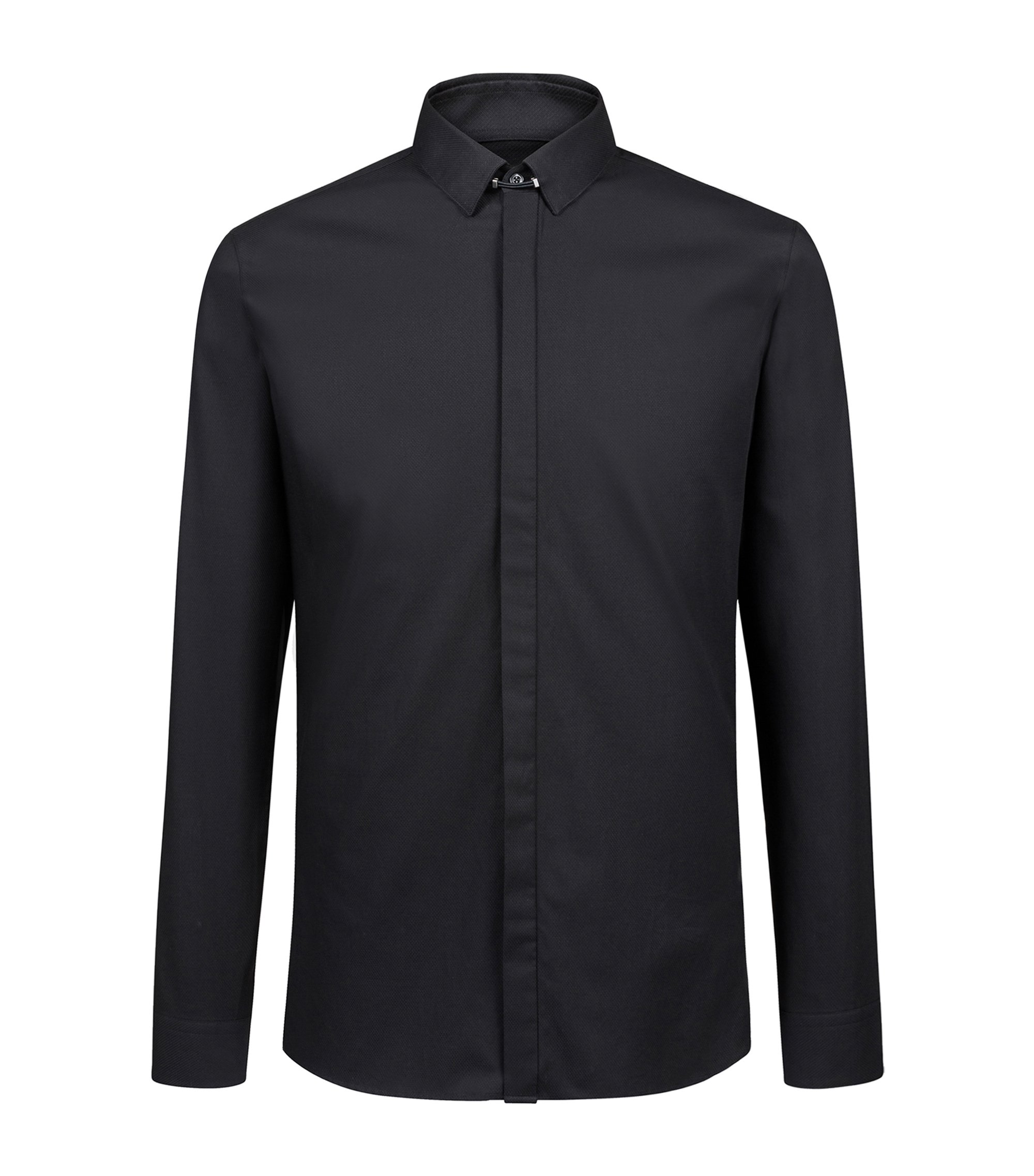 Extra-slim-fit cotton shirt with tab collar, Black