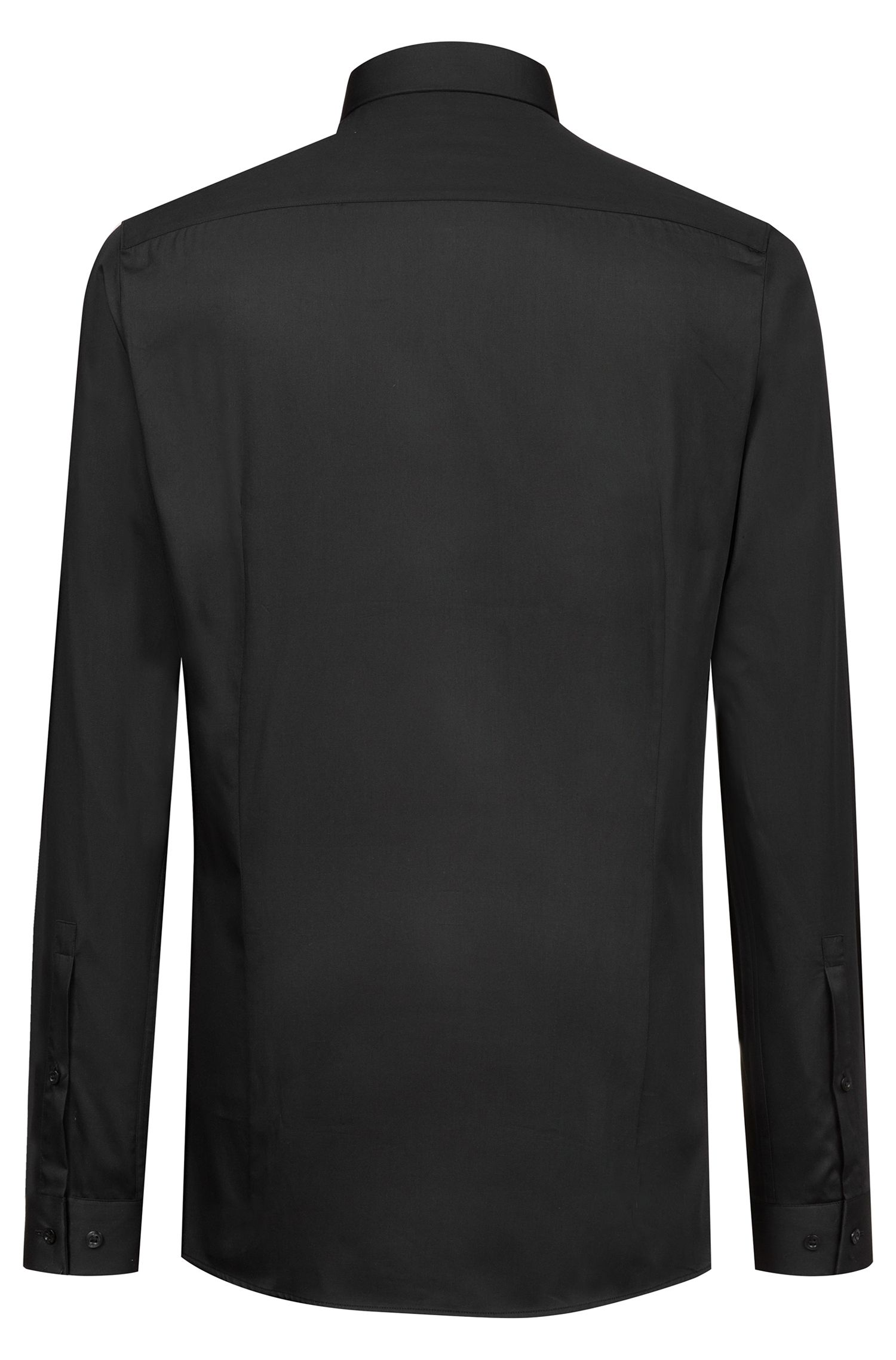 Extra-slim-fit business shirt in cotton sateen, Black
