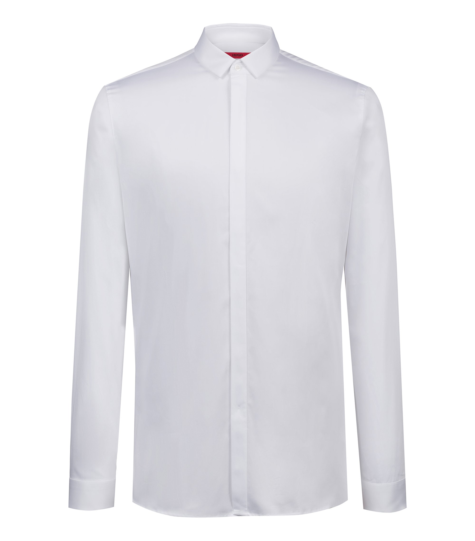 Extra-slim-fit business shirt in cotton sateen, Open White
