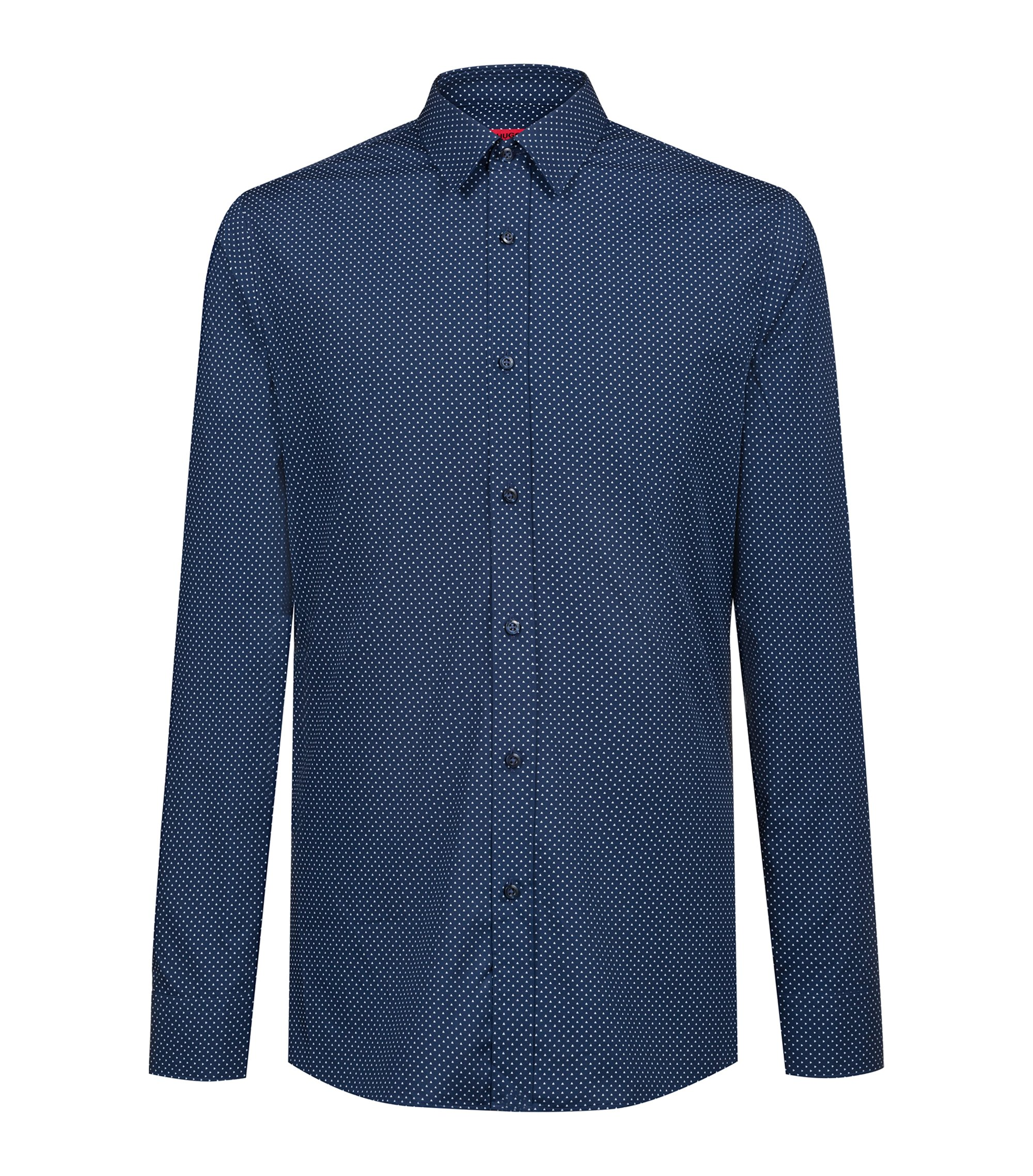 Extra-slim-fit cotton shirt with micro-dot print, Dark Blue