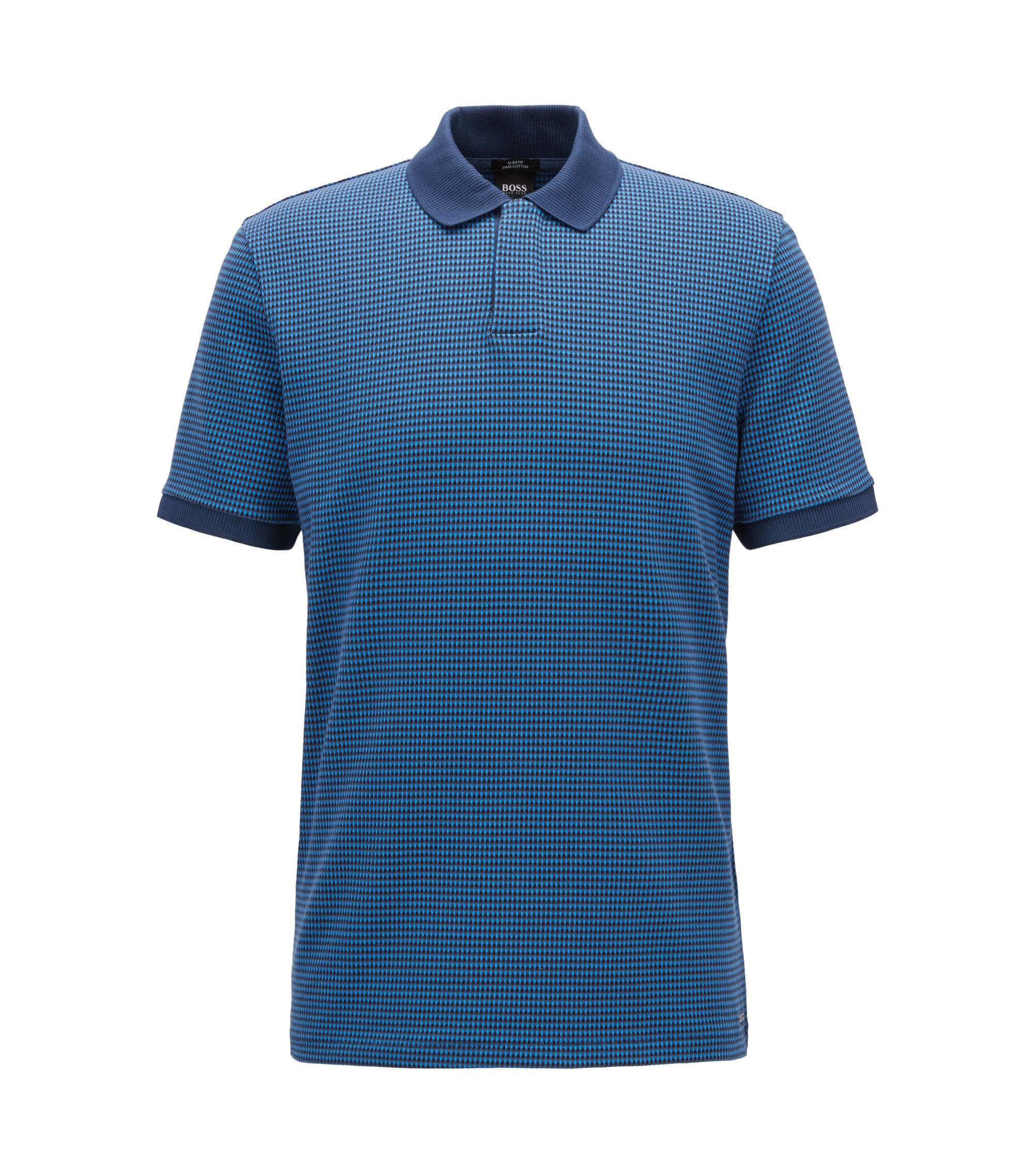 Slim-fit polo shirt with three-colored micro pattern, Blue