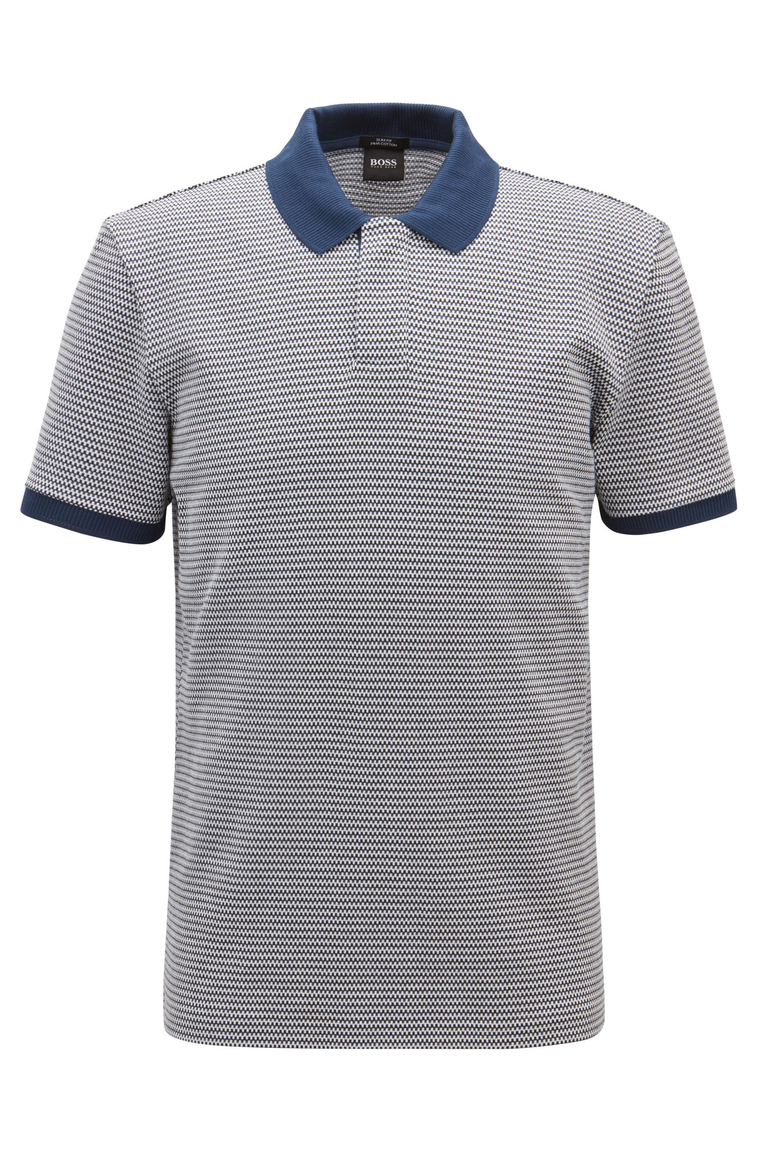 Slim-fit polo shirt with three-colored micro pattern, Open Blue