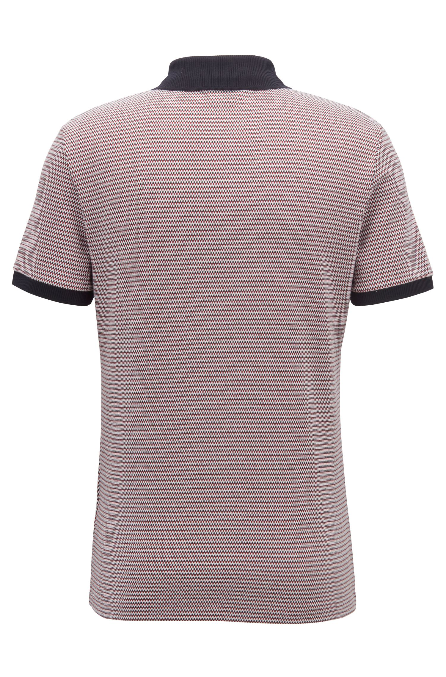 Slim-fit polo shirt with three-colored micro pattern, Dark Red