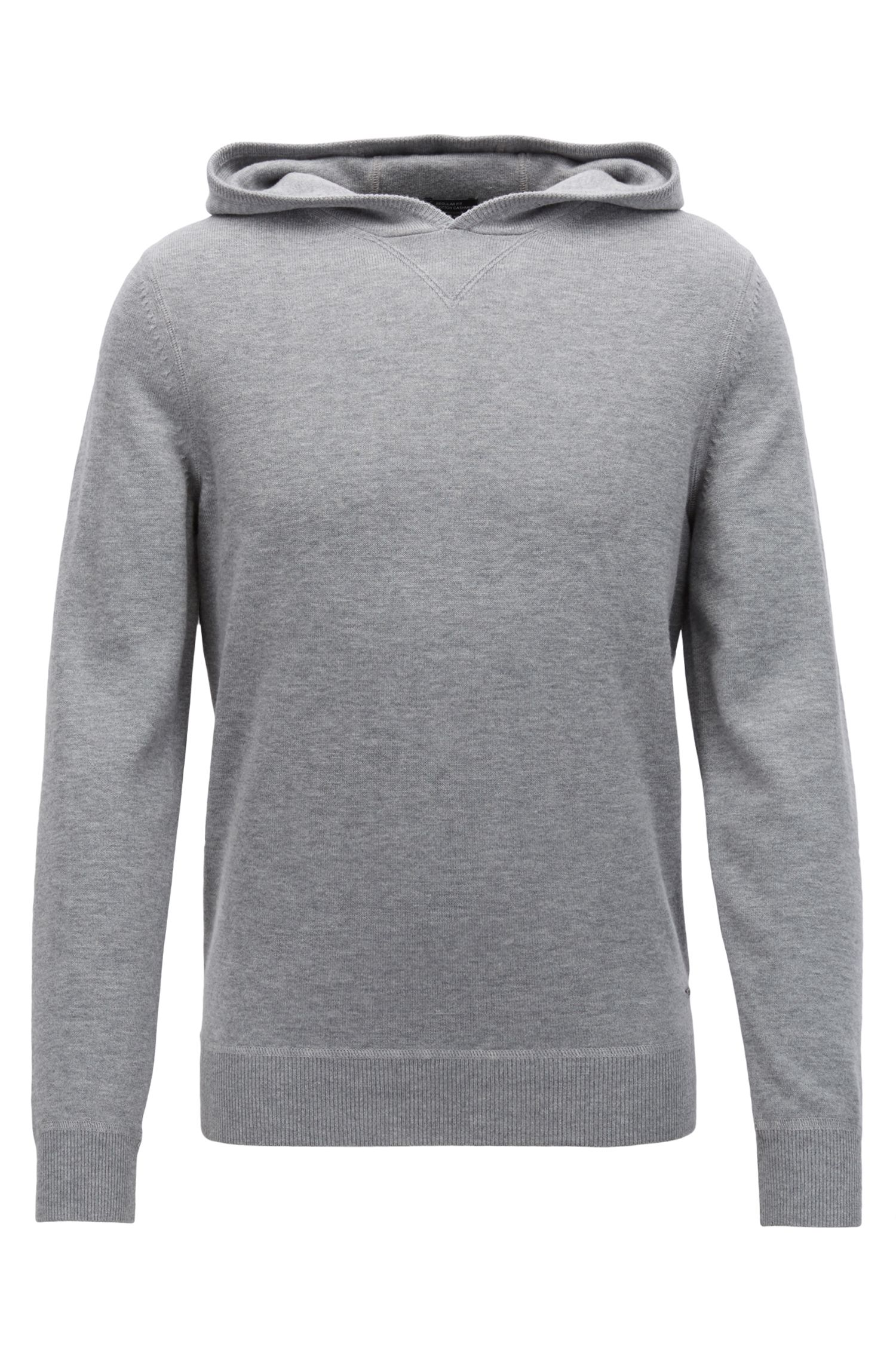 Hooded sweater in a virgin-wool blend with cashmere, Silver