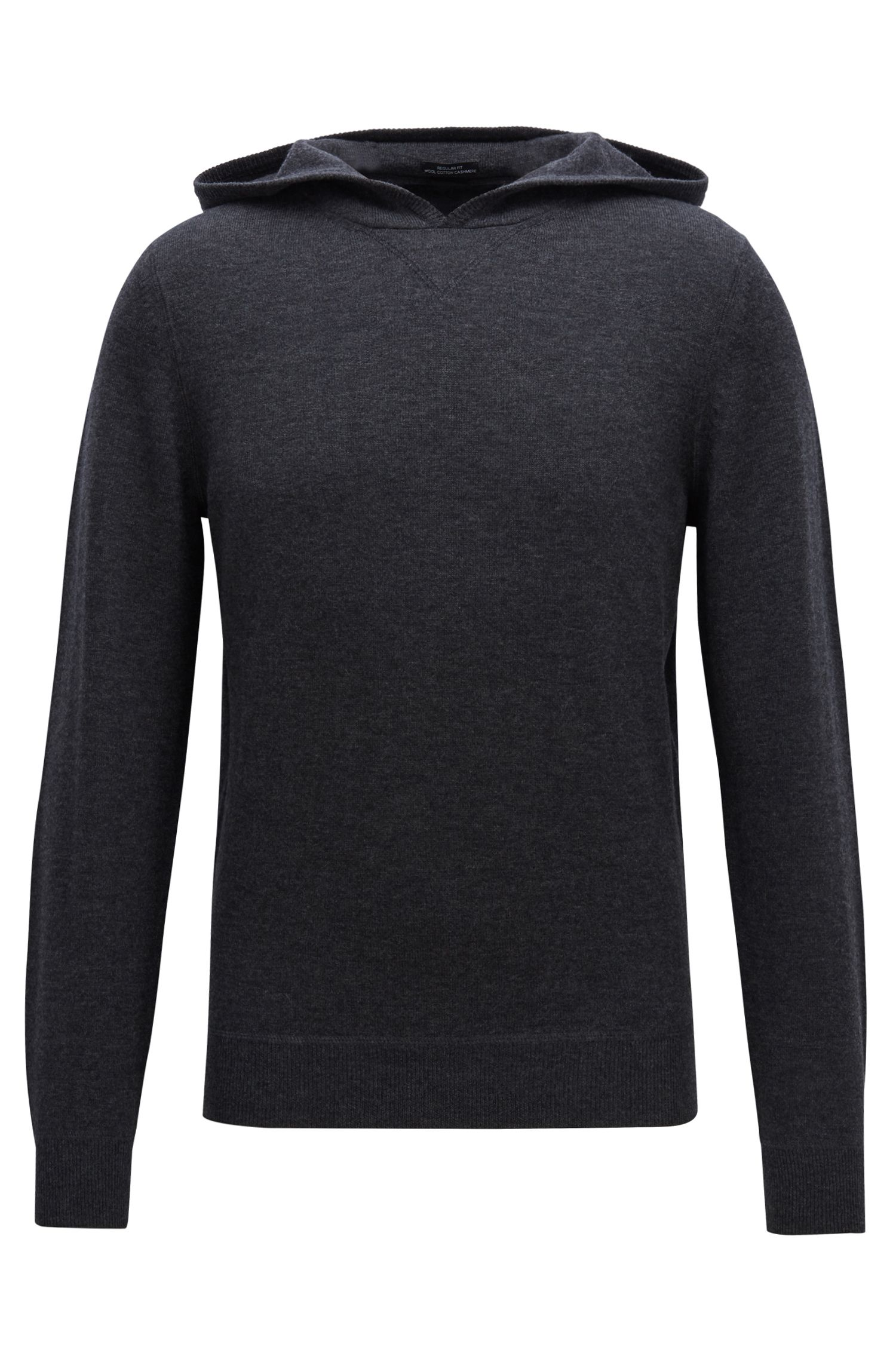 Hooded sweater in a virgin-wool blend with cashmere, Open Grey