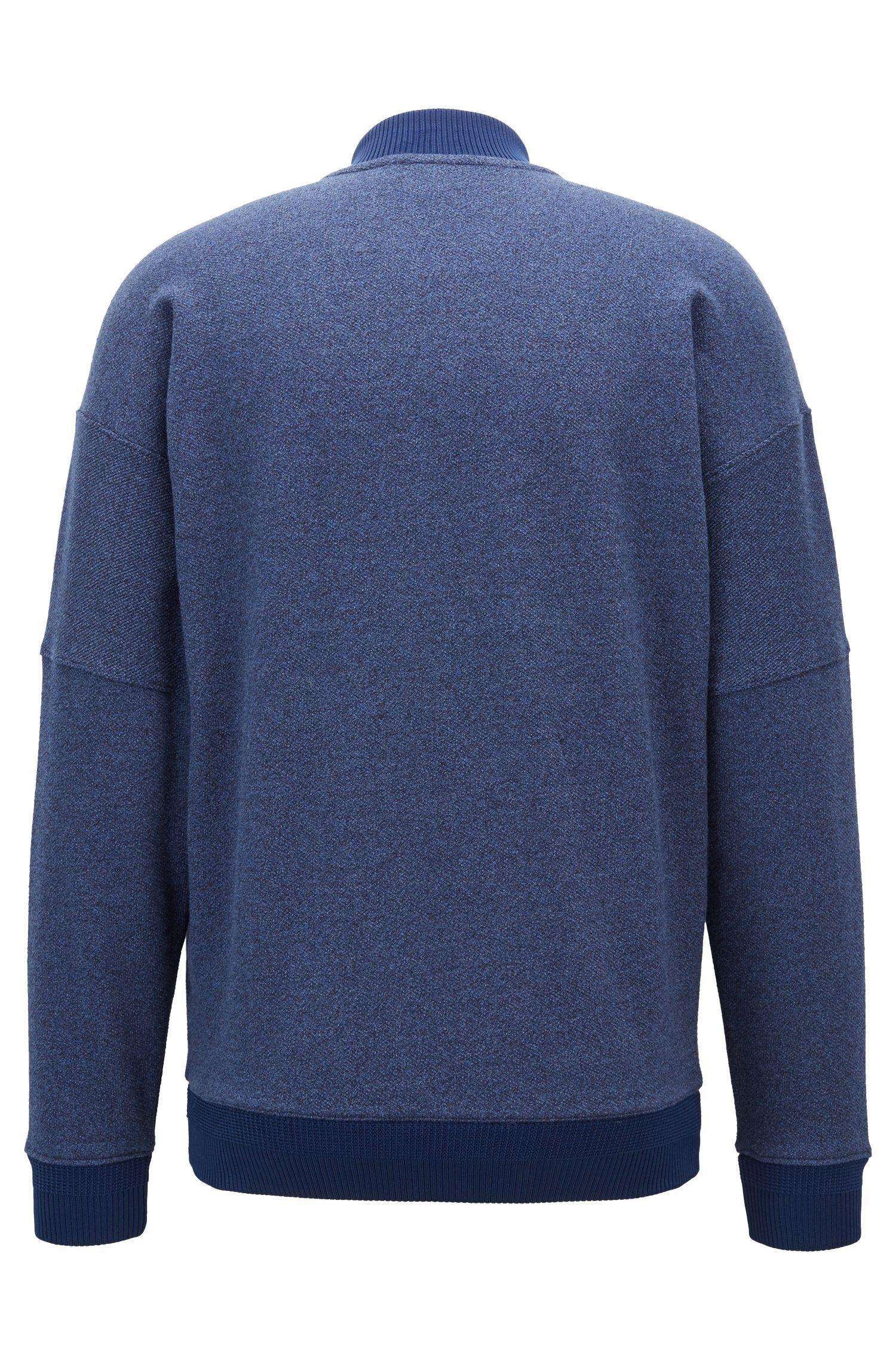 Zippered sweatshirt in heathered denim-effect terry cotton, Open Blue