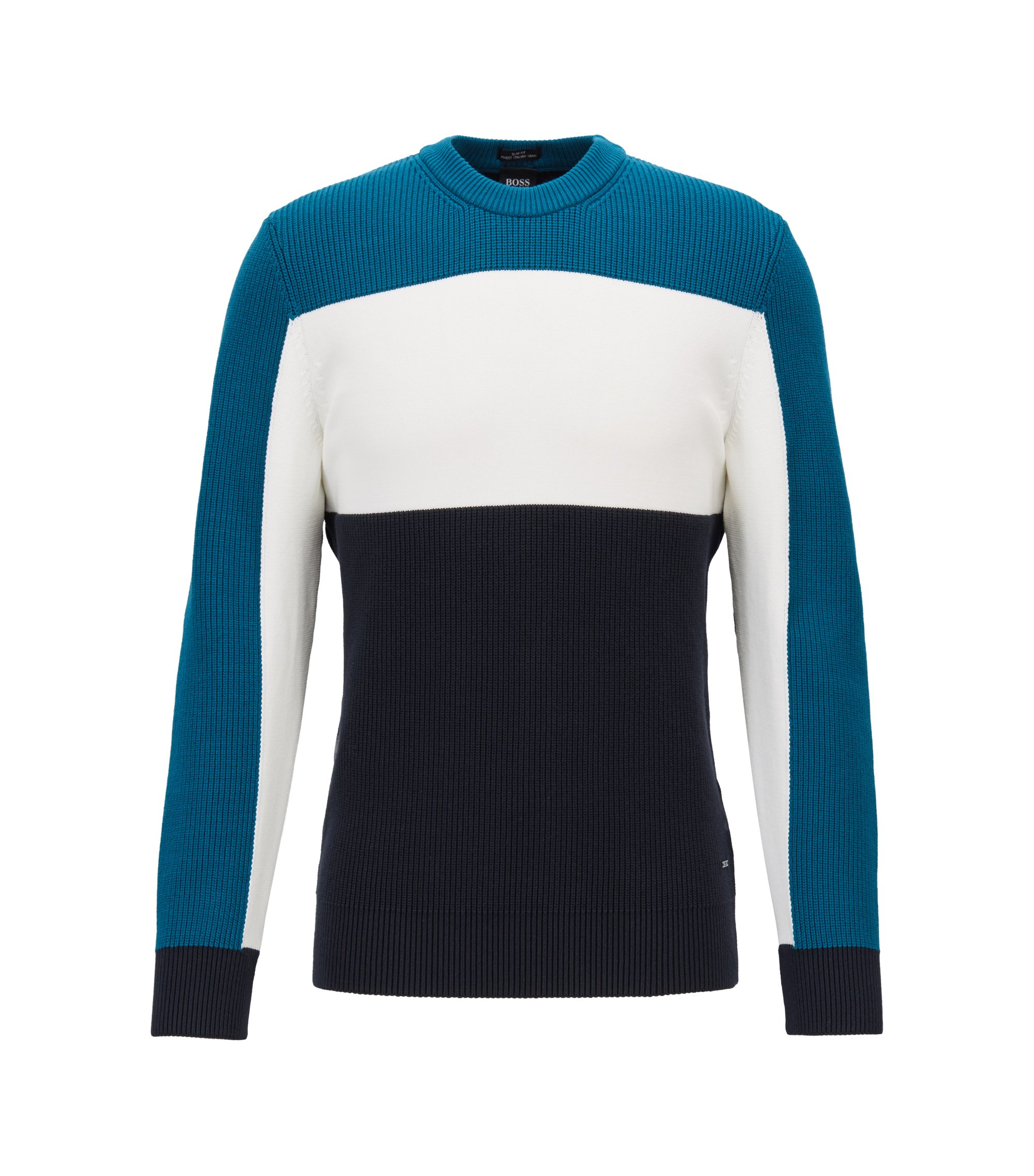 Slim-fit color-block sweater in mixed structures, Open Blue
