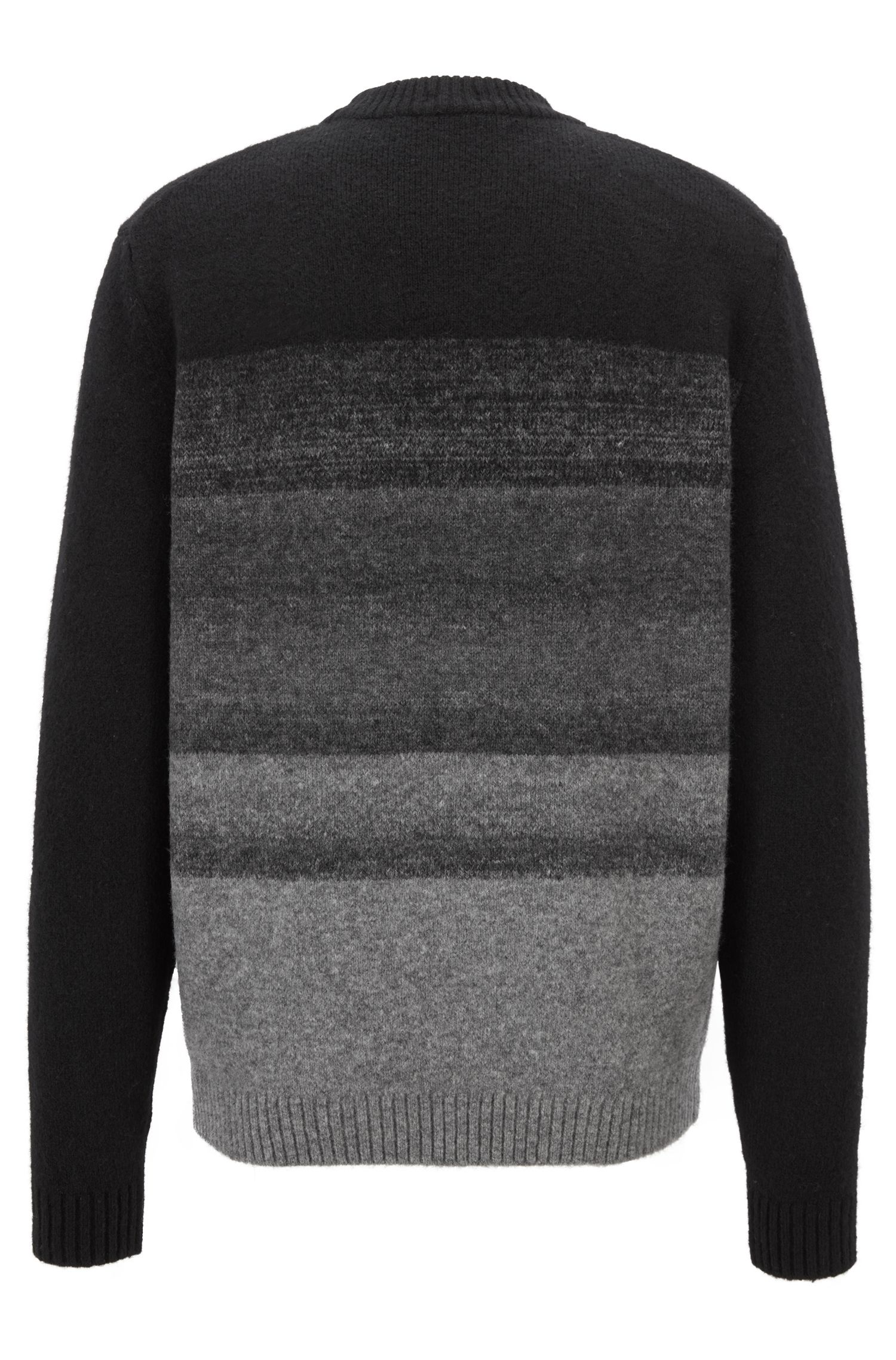 Knitted sweater in a wool blend with dégradé effect, Black