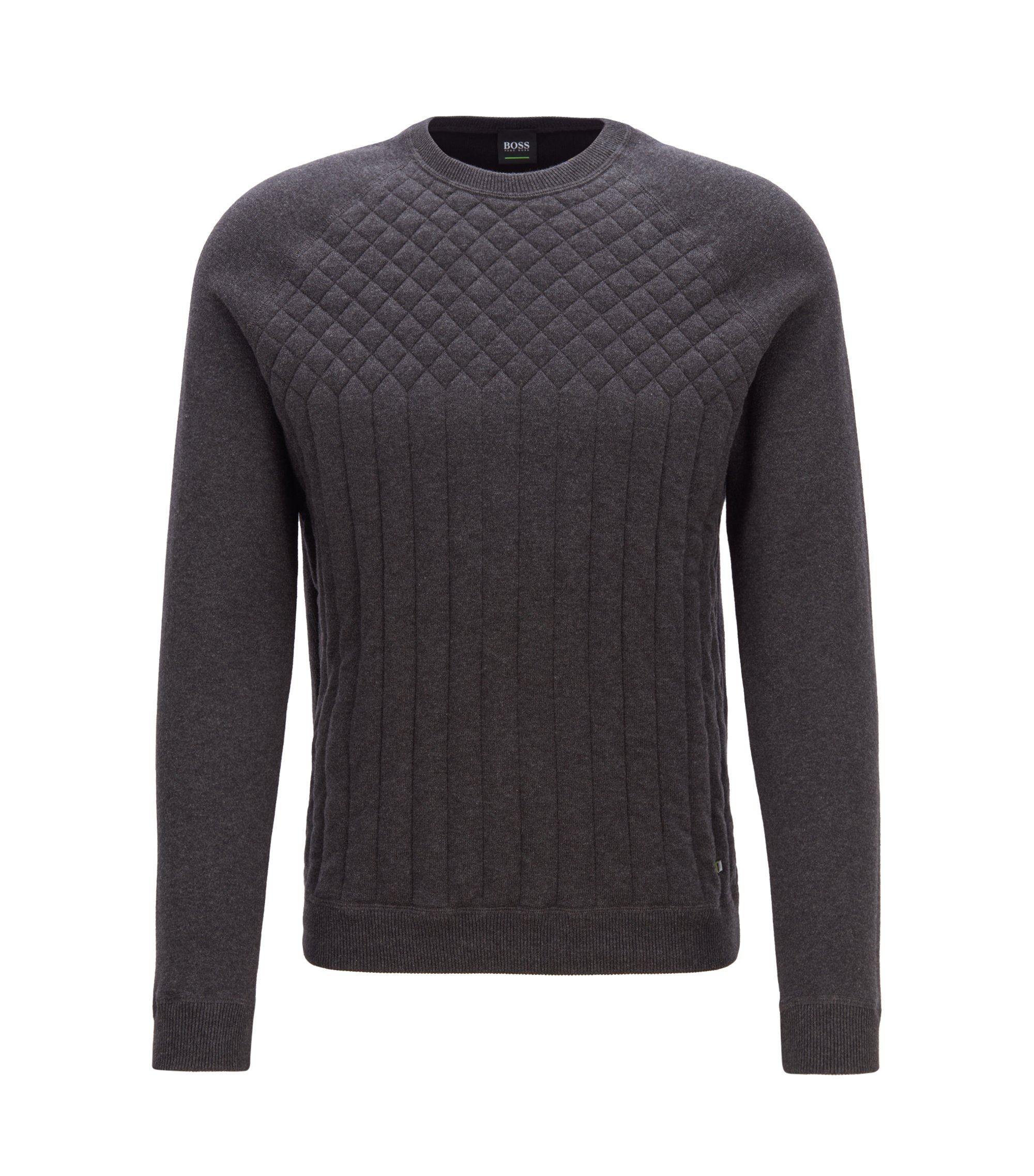 Knitted sweater in a melange blend with quilting details, Charcoal