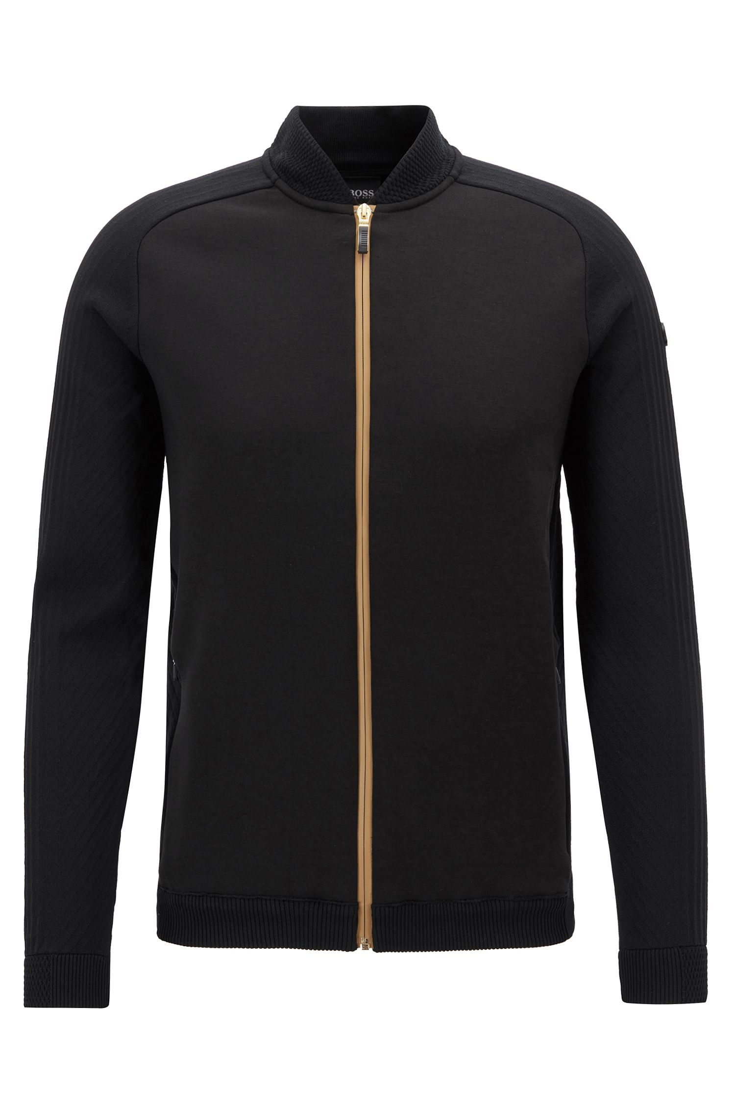Bomber-style knitted sweater with contrast zipper, Black