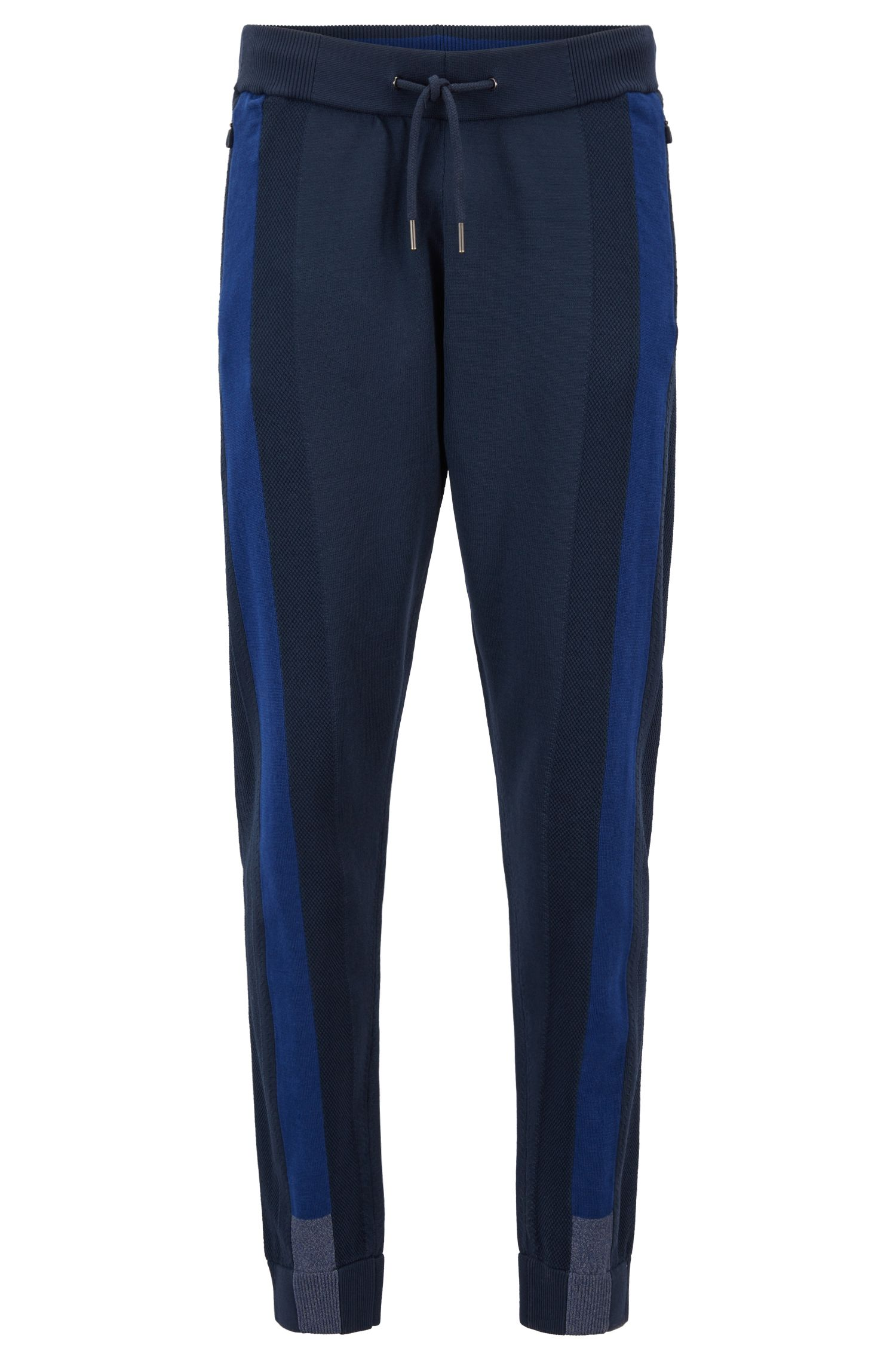 Reflective-detail jogging pants in stretch fabric with Thermolite®, Dark Blue