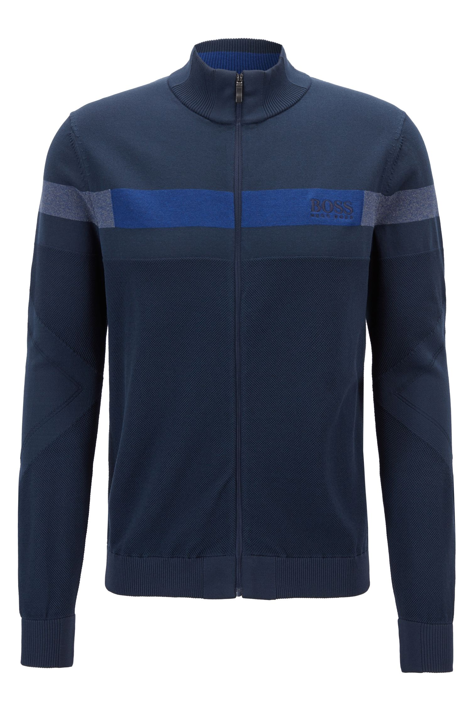Zippered tracksuit top in stretch fabric with Thermolite®, Dark Blue