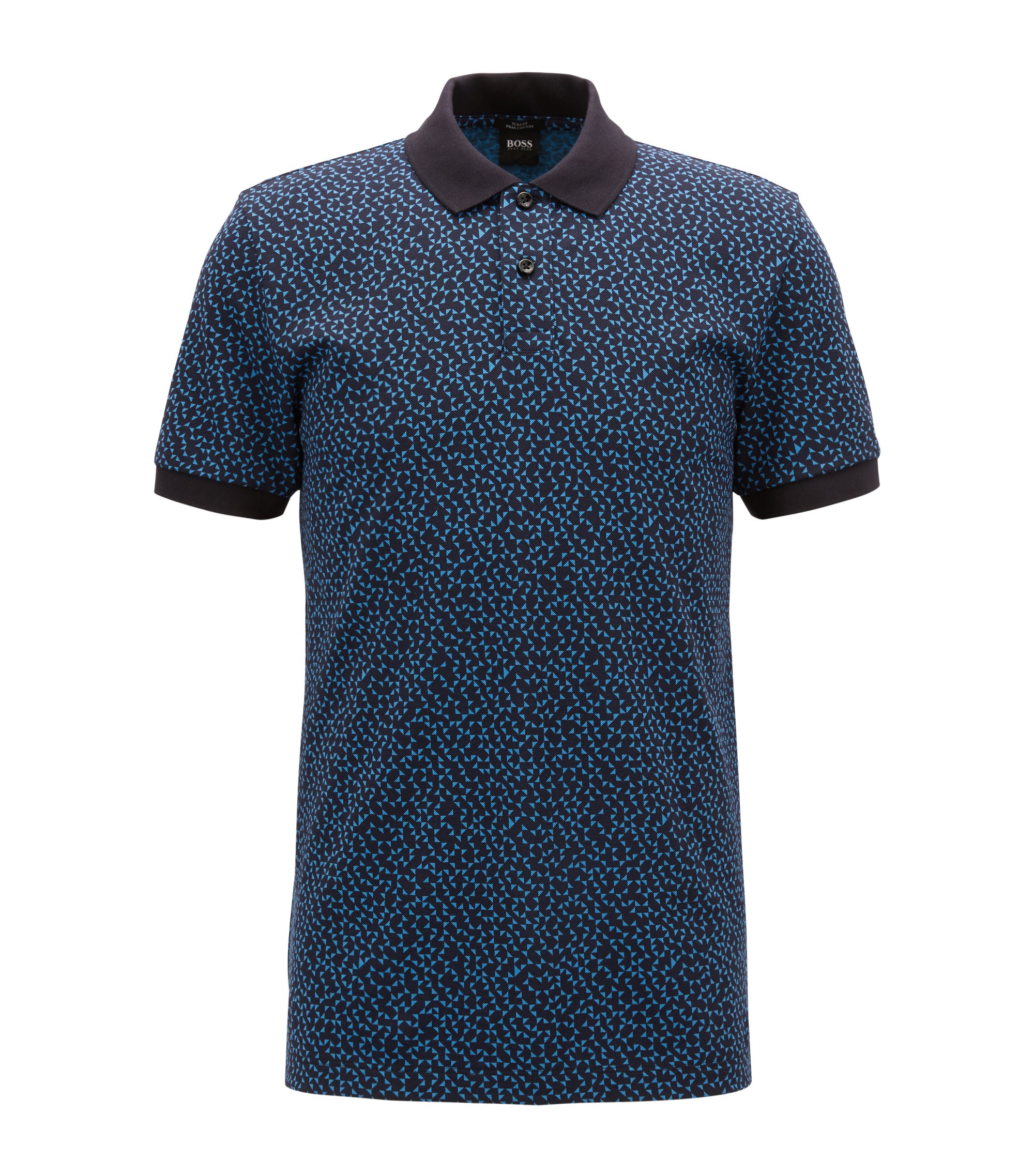 Slim-fit polo shirt with Anni-Albers-inspired pattern, Open Blue