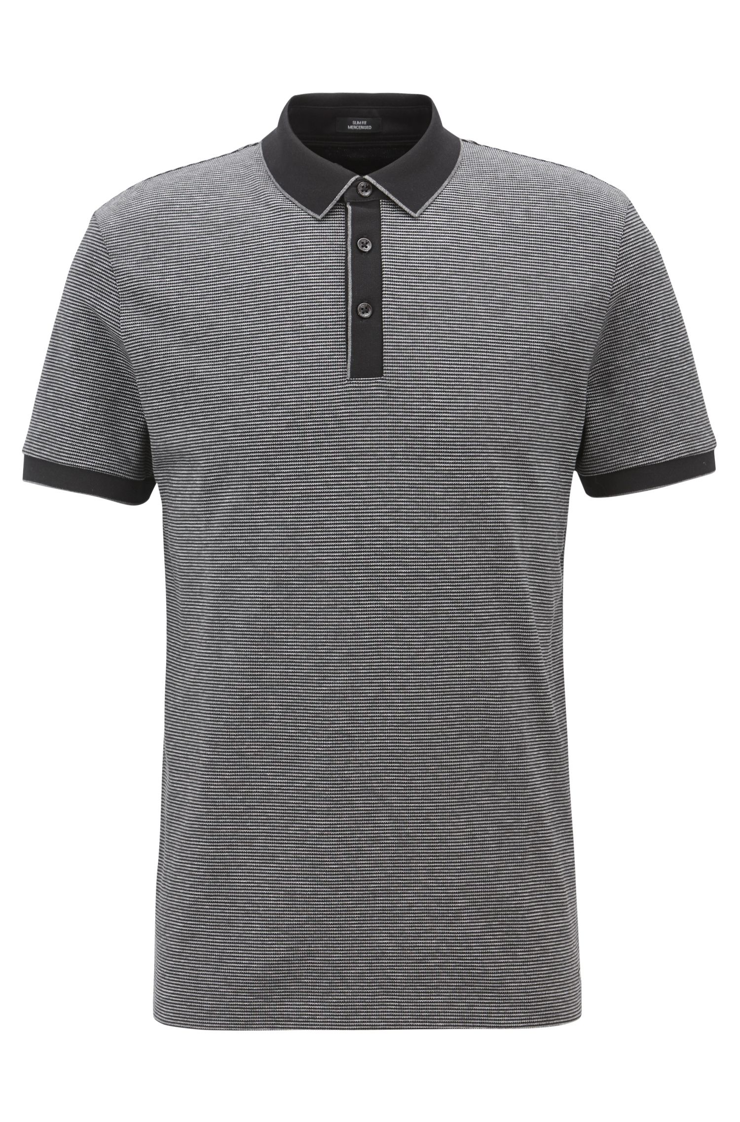 Slim-fit polo shirt in three-colored mercerized cotton, Black
