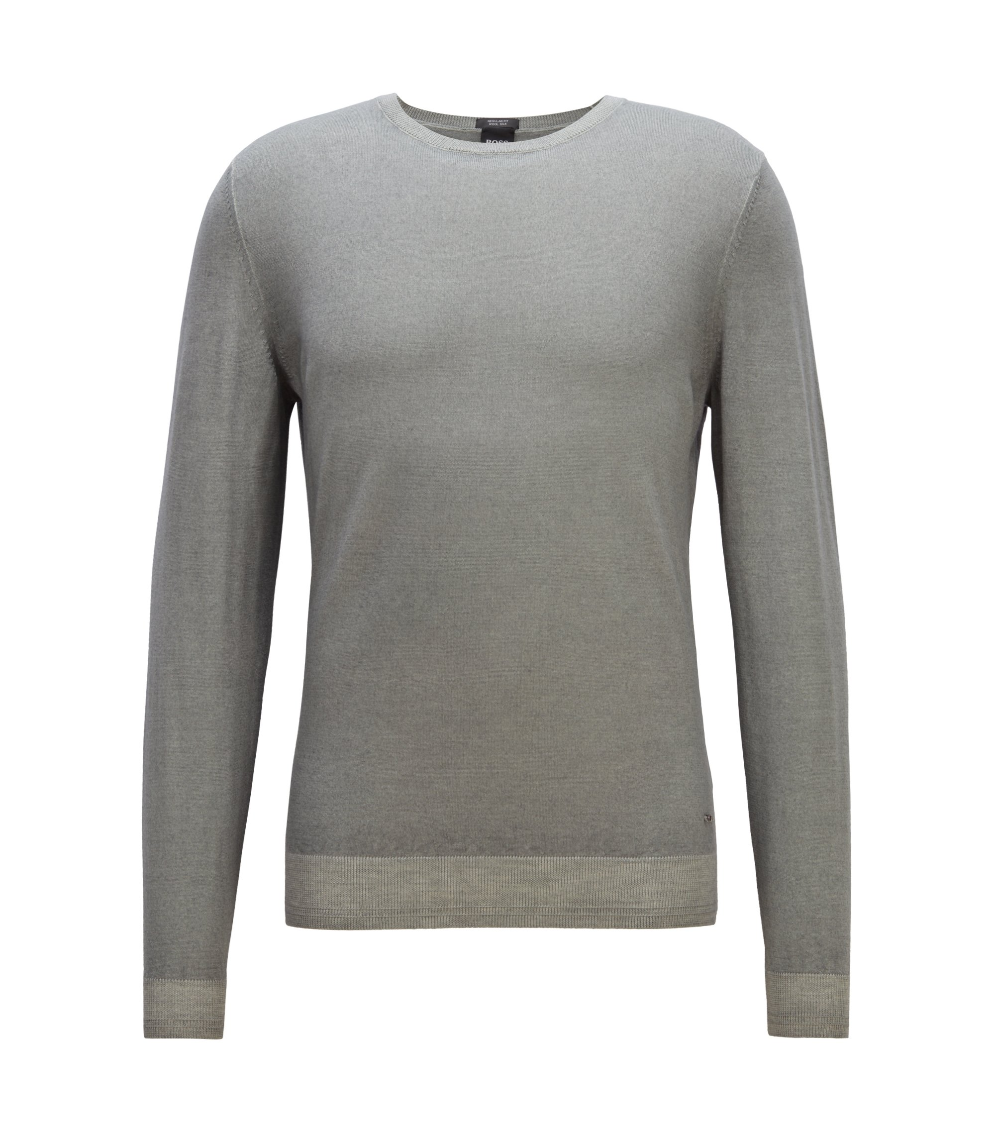 Garment-dyed sweater in virgin wool blended with silk, Open Grey
