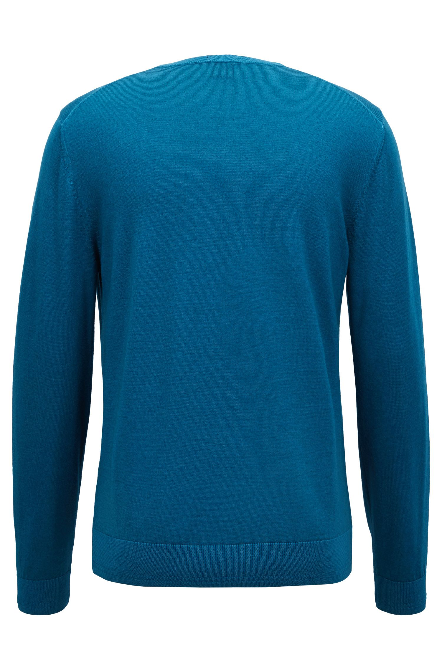 Garment-dyed sweater in virgin wool blended with silk, Turquoise