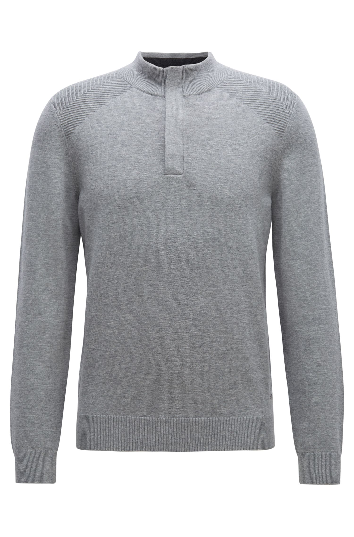 Zip-neck sweater in a wool-cotton blend, Silver