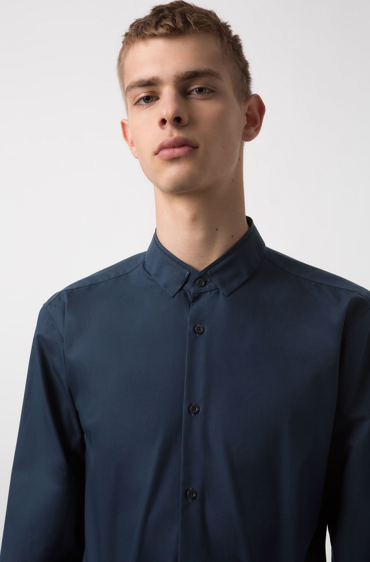 Extra-slim-fit cotton shirt with easy-iron finishing, Dark Blue
