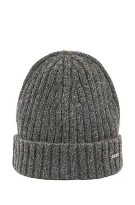 Beanie hat in pure cashmere with turnback hem, Grey