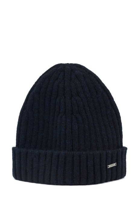 Beanie hat in pure cashmere with turnback hem, Dark Blue