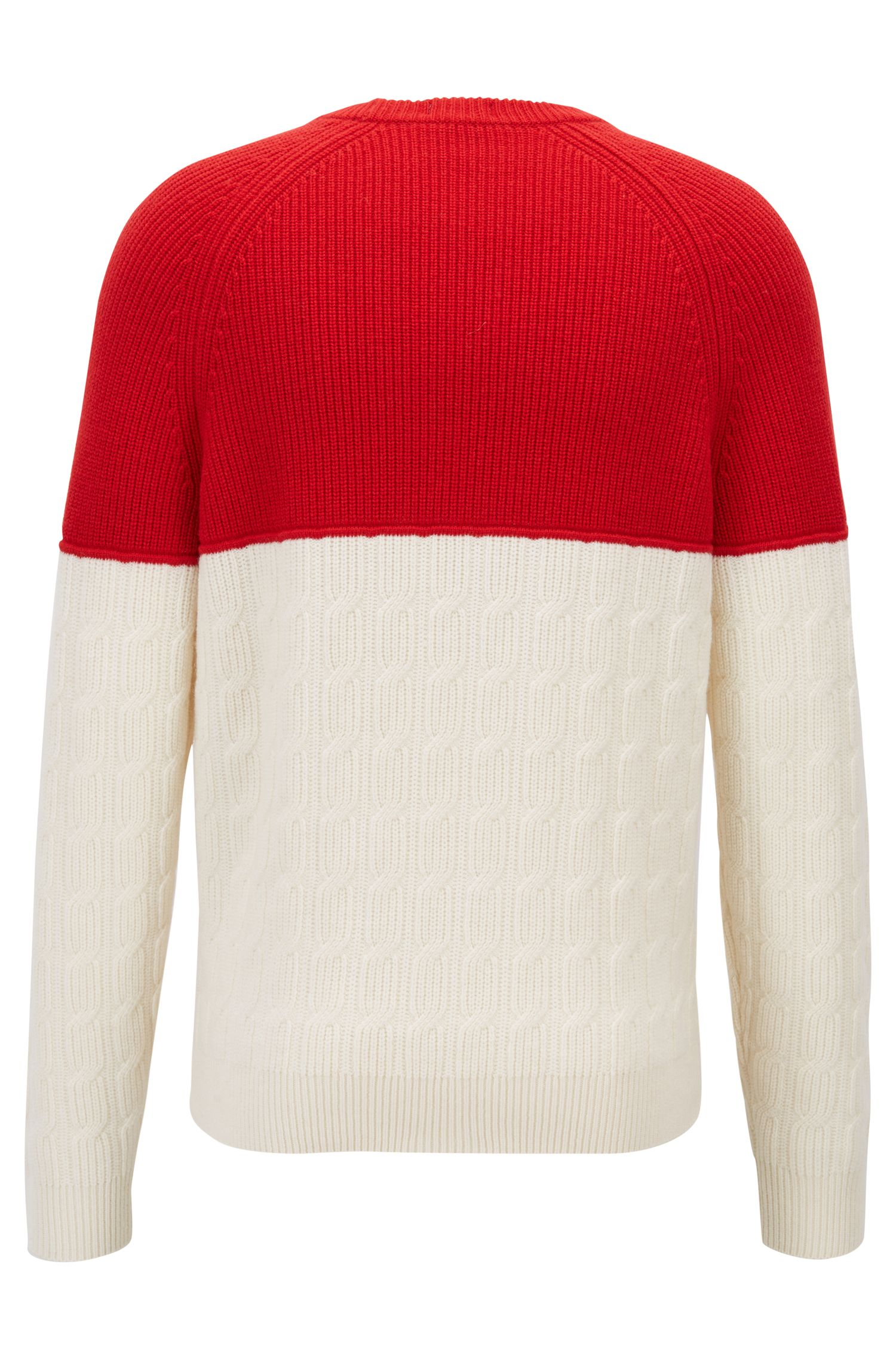 Color-block sweater in pure lambswool with mixed textures, Natural