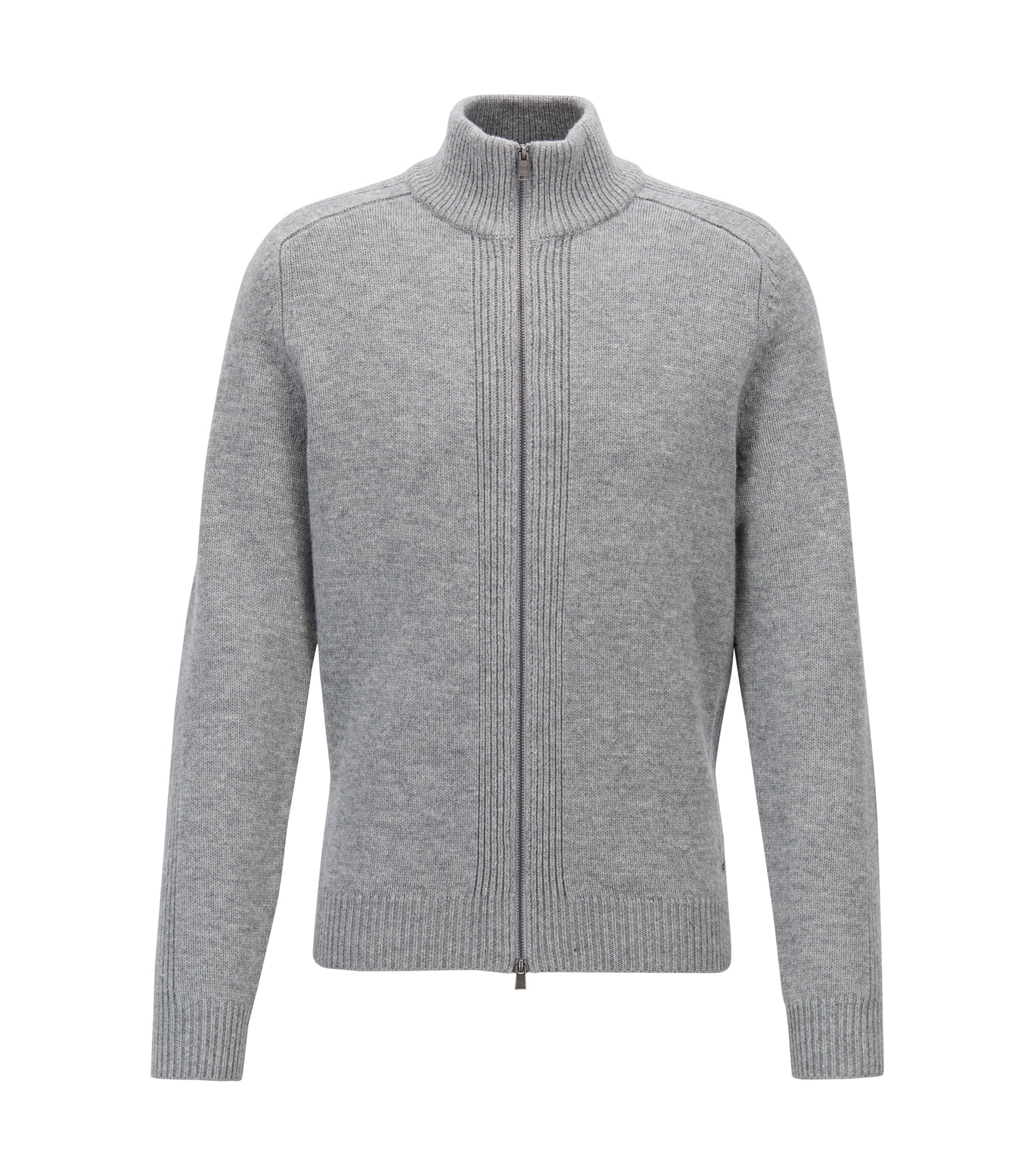 Stand-collar sweater in lambswool with two-way zipper, Silver
