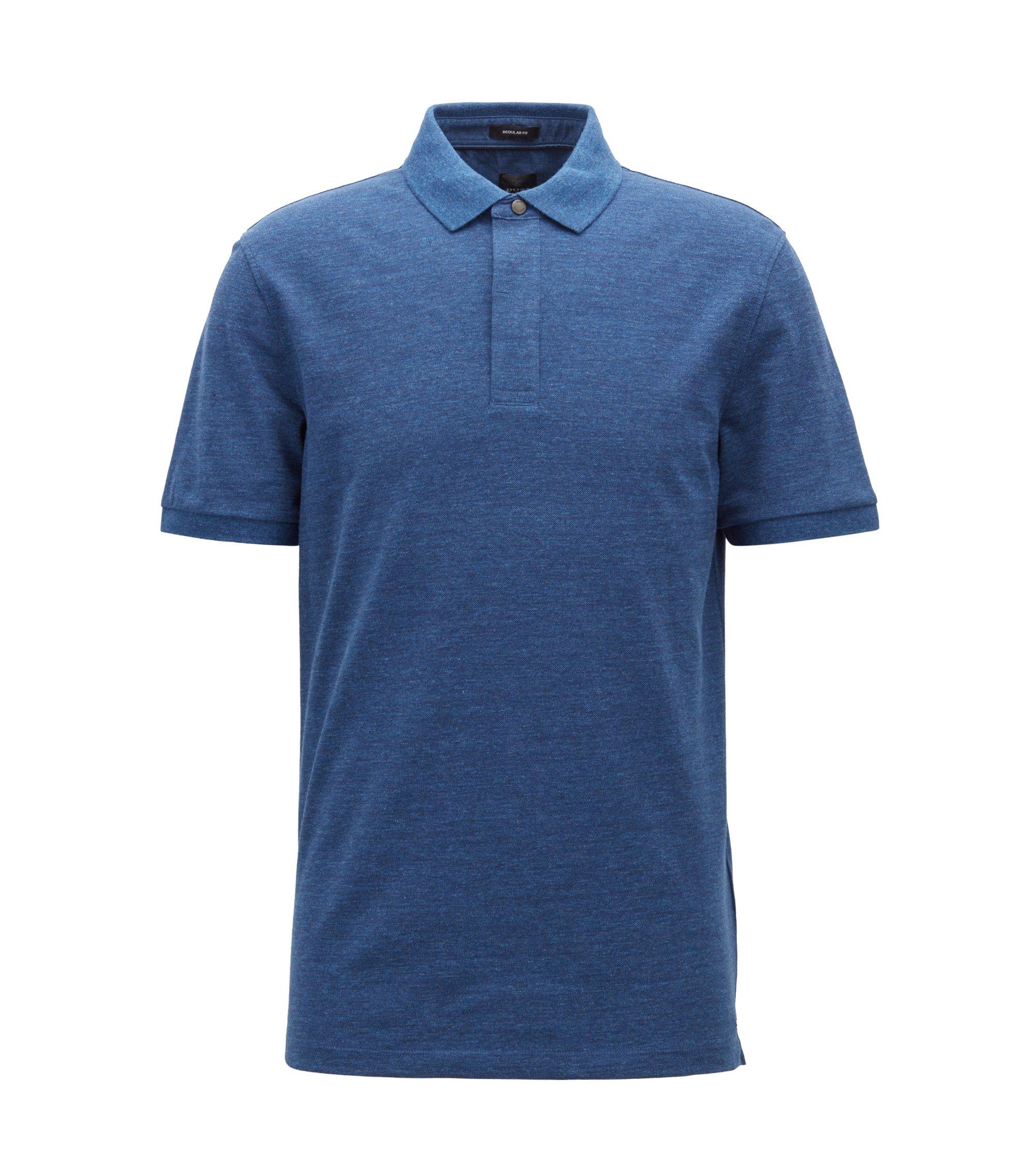 Denim-effect polo shirt with press-stud closure, Open Blue