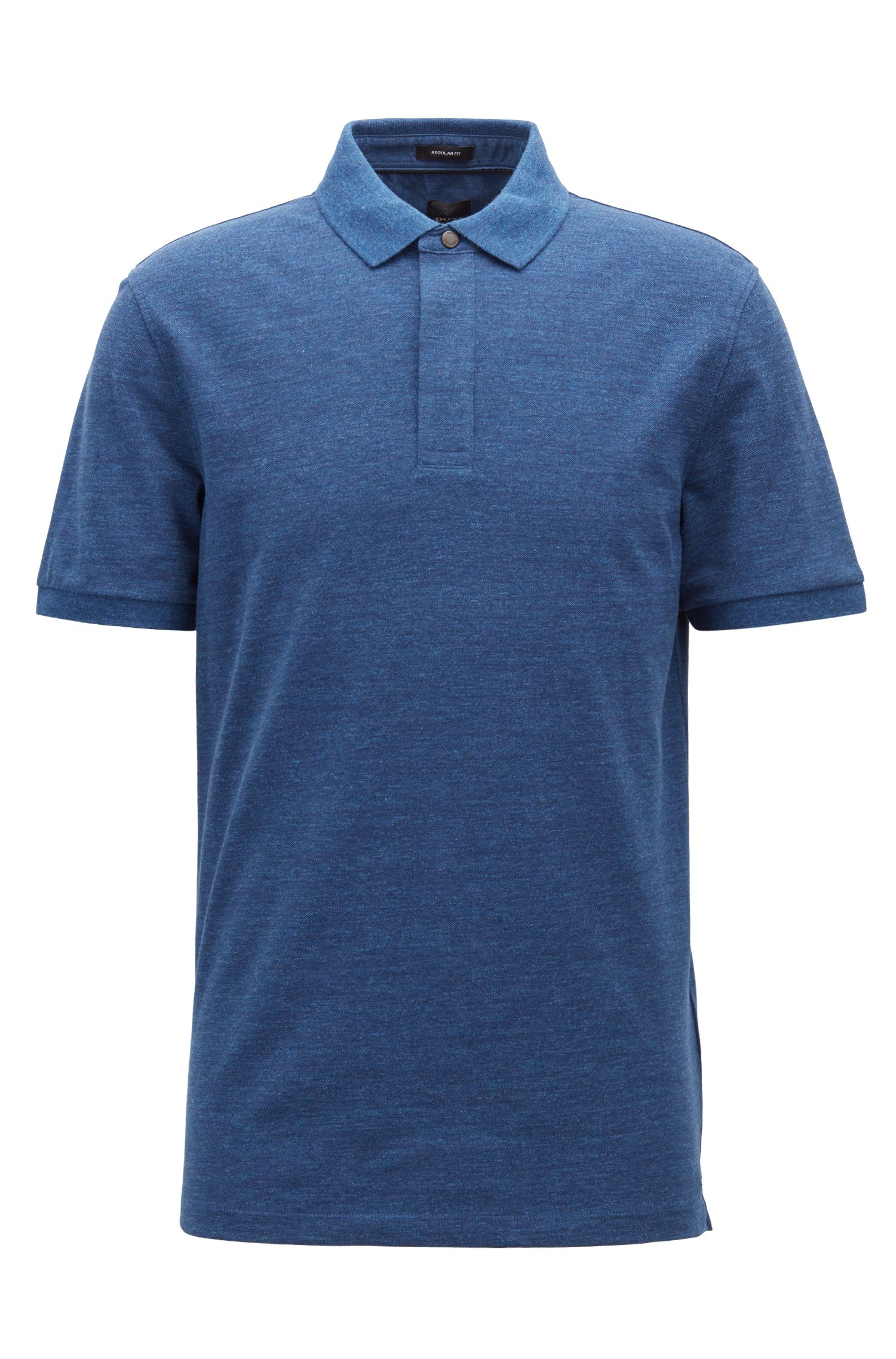 Denim-effect polo shirt with press-stud closure, Open Blue