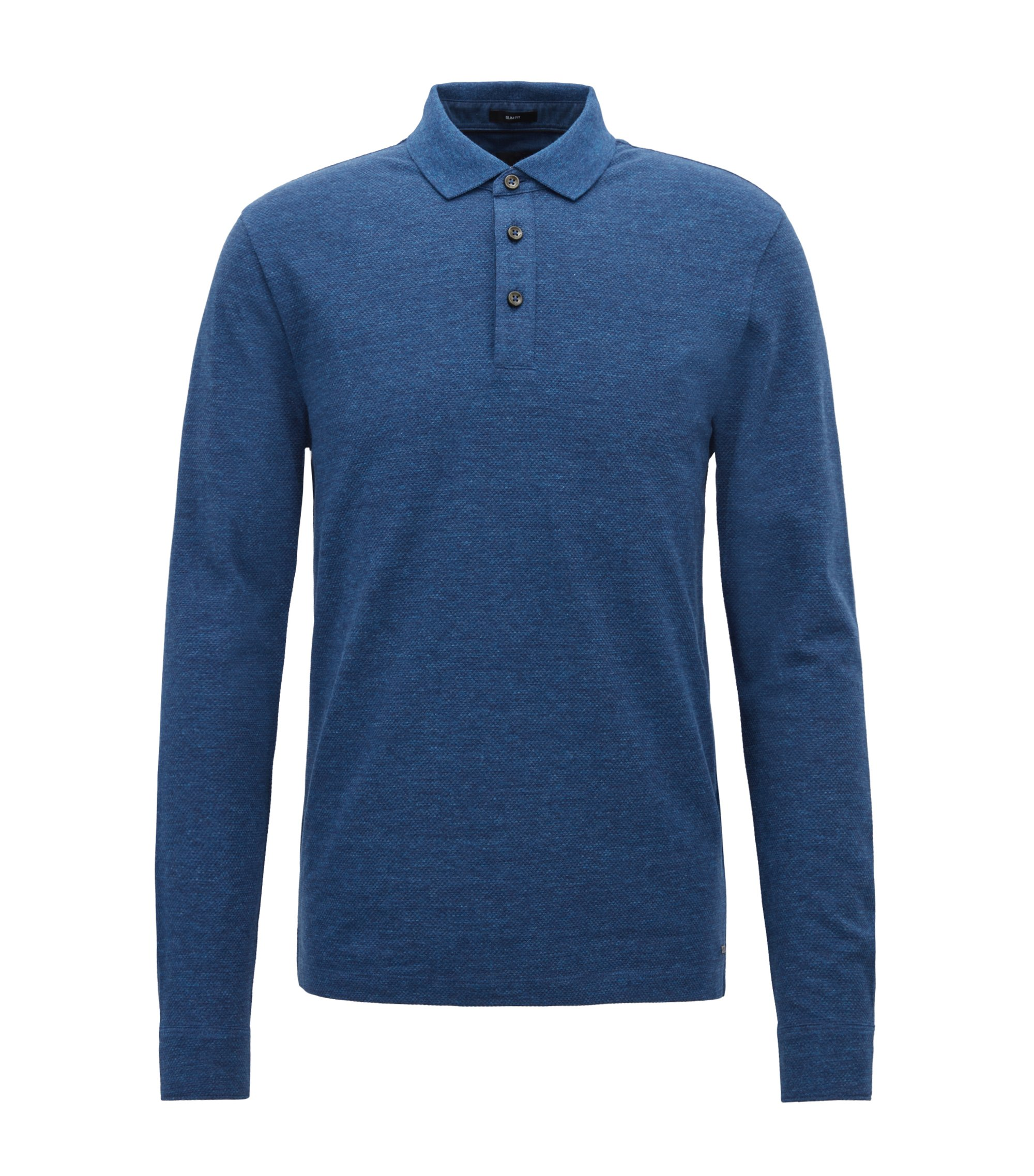 Denim-look polo shirt with shirt-style cuffs, Open Blue