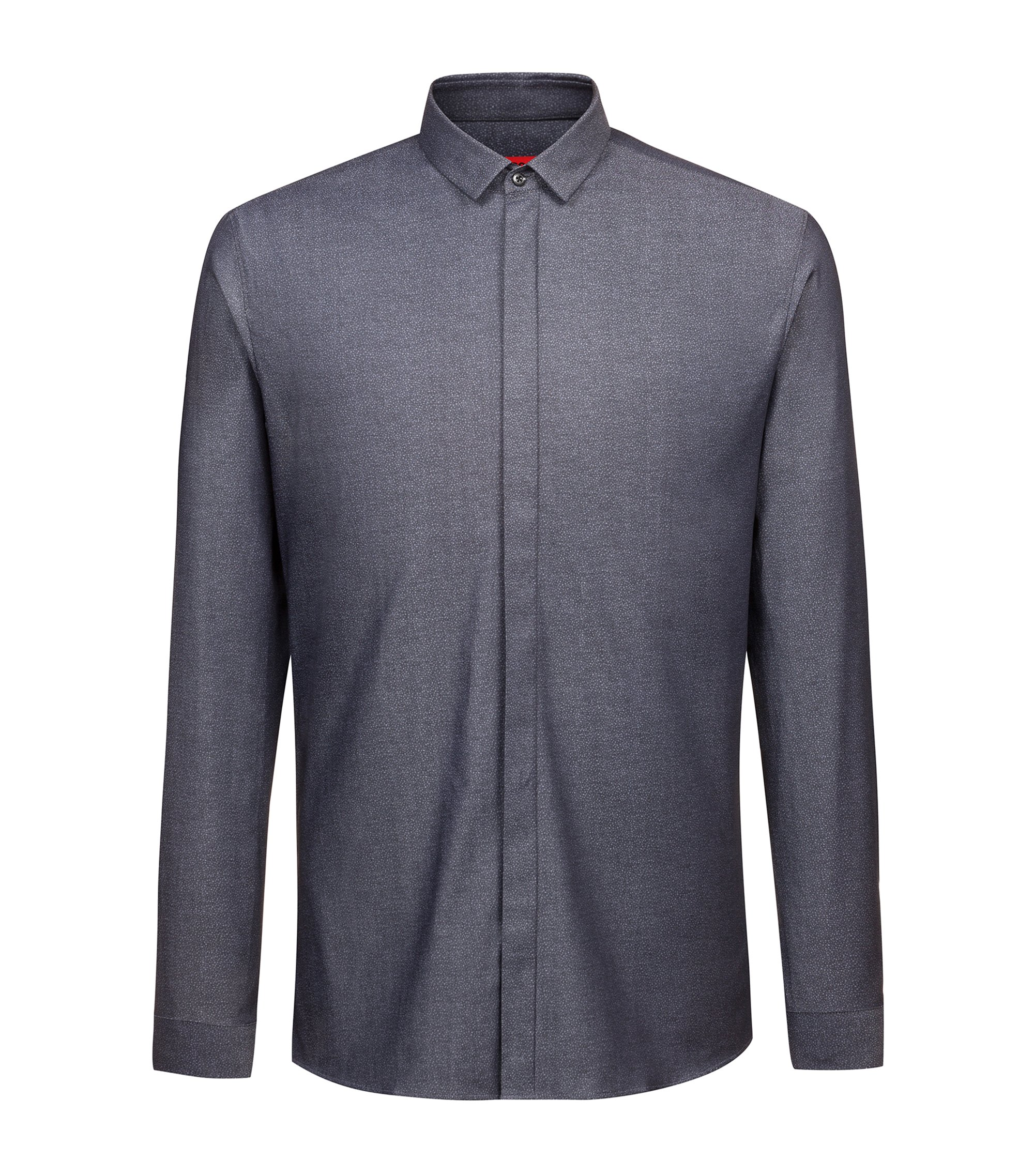 Extra-slim-fit shirt in cotton jacquard with concealed placket, Black