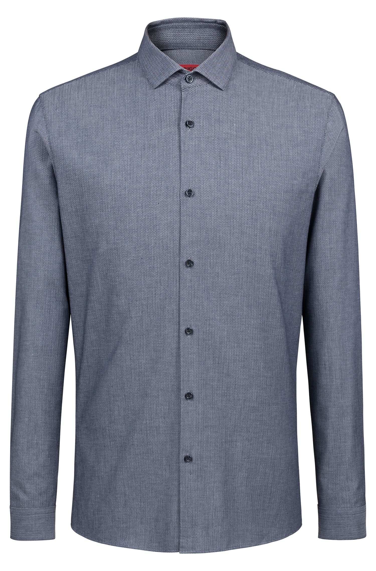 Extra-slim-fit cotton shirt with chevron micro structure, Dark Blue