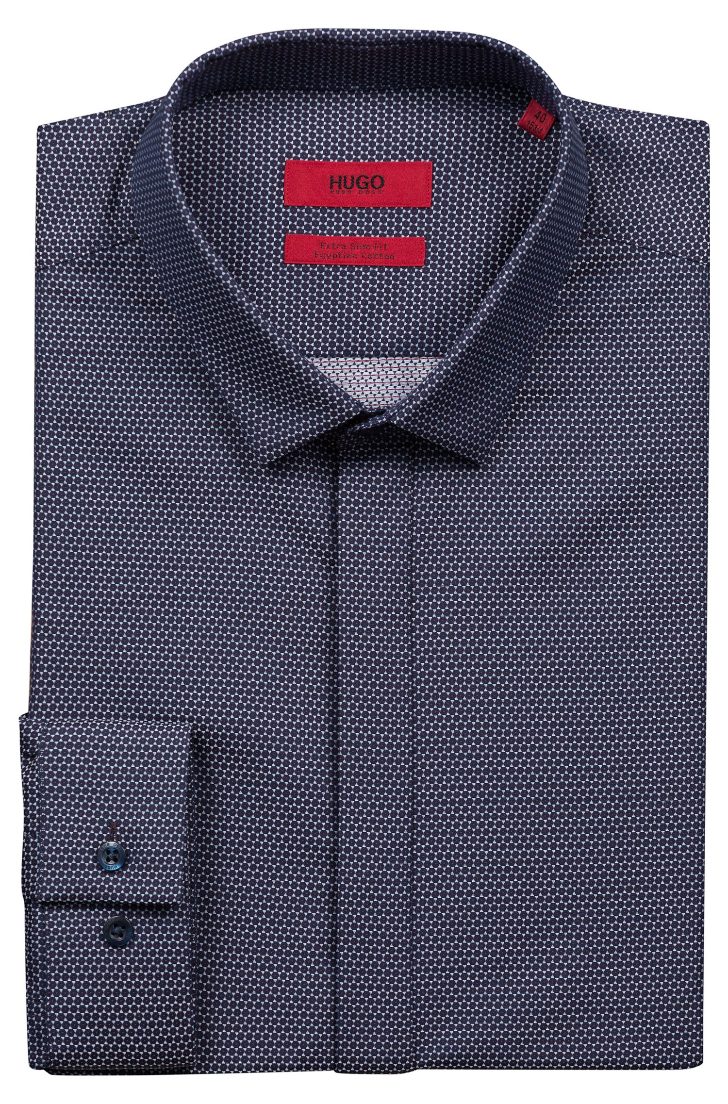 Extra-slim-fit Egyptian-cotton shirt with brocade pattern, Red