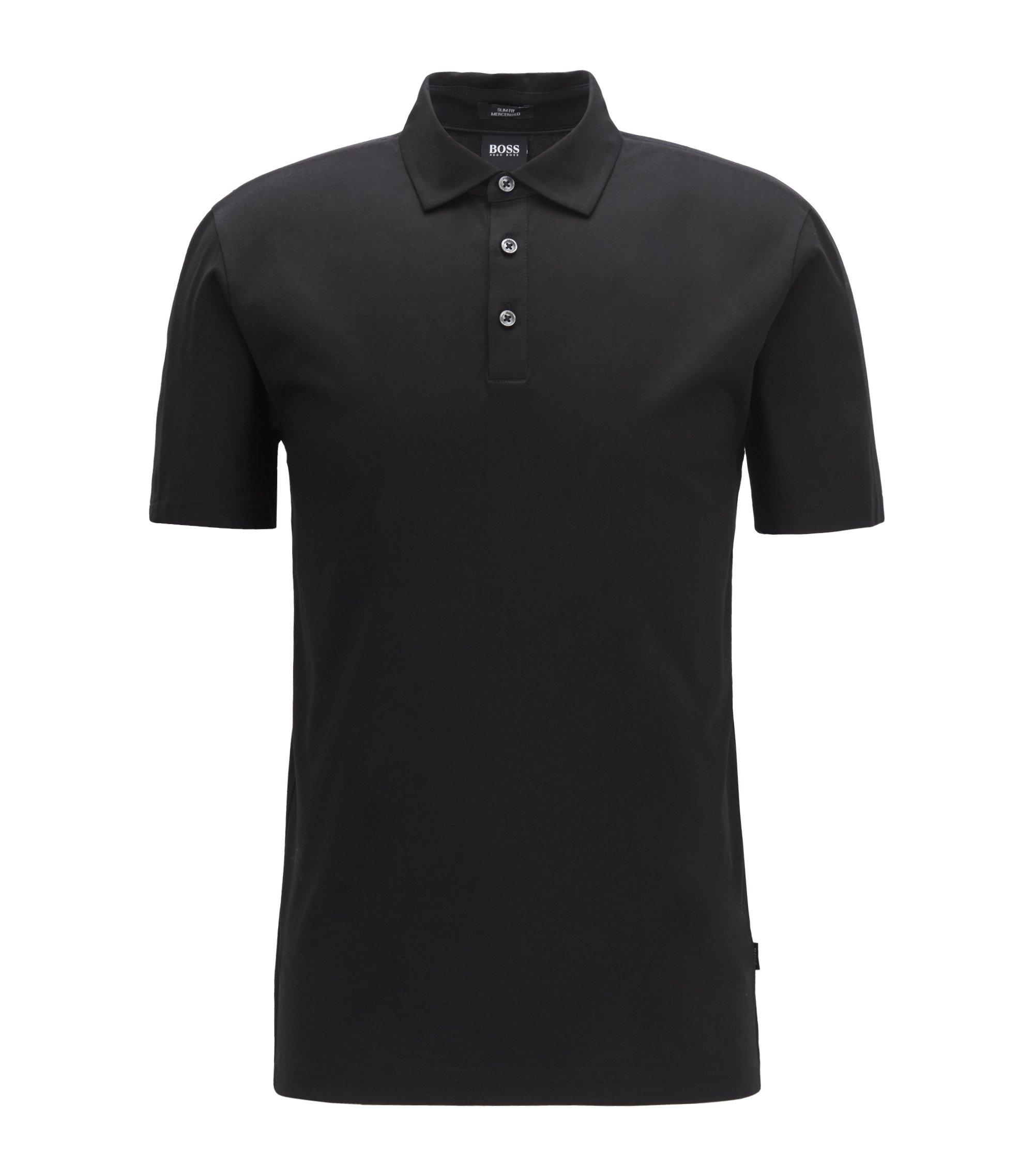Slim-fit polo shirt with Italian-velvet sleeve inserts, Black