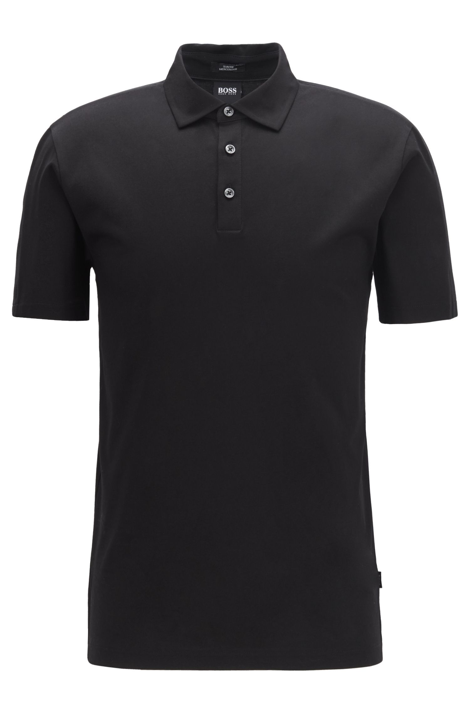 Slim-fit polo shirt with Italian-velvet sleeve inserts, Black