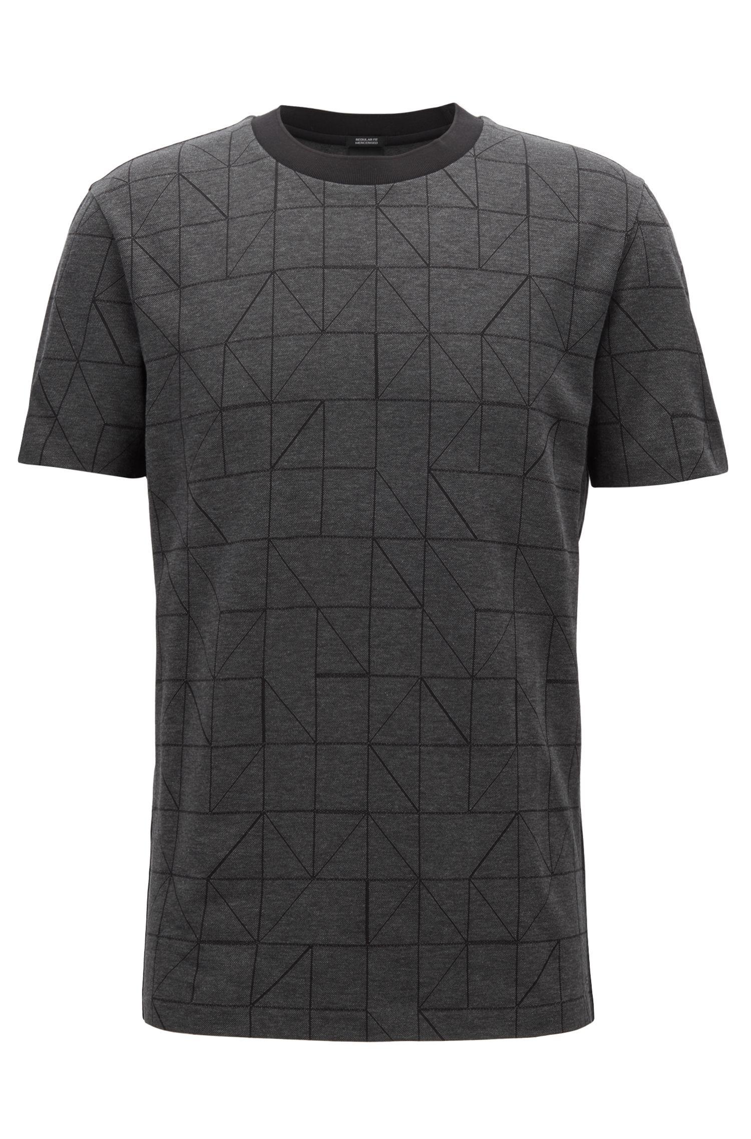 Bauhaus-inspired patterned T-shirt in mercerized cotton jacquard, Black