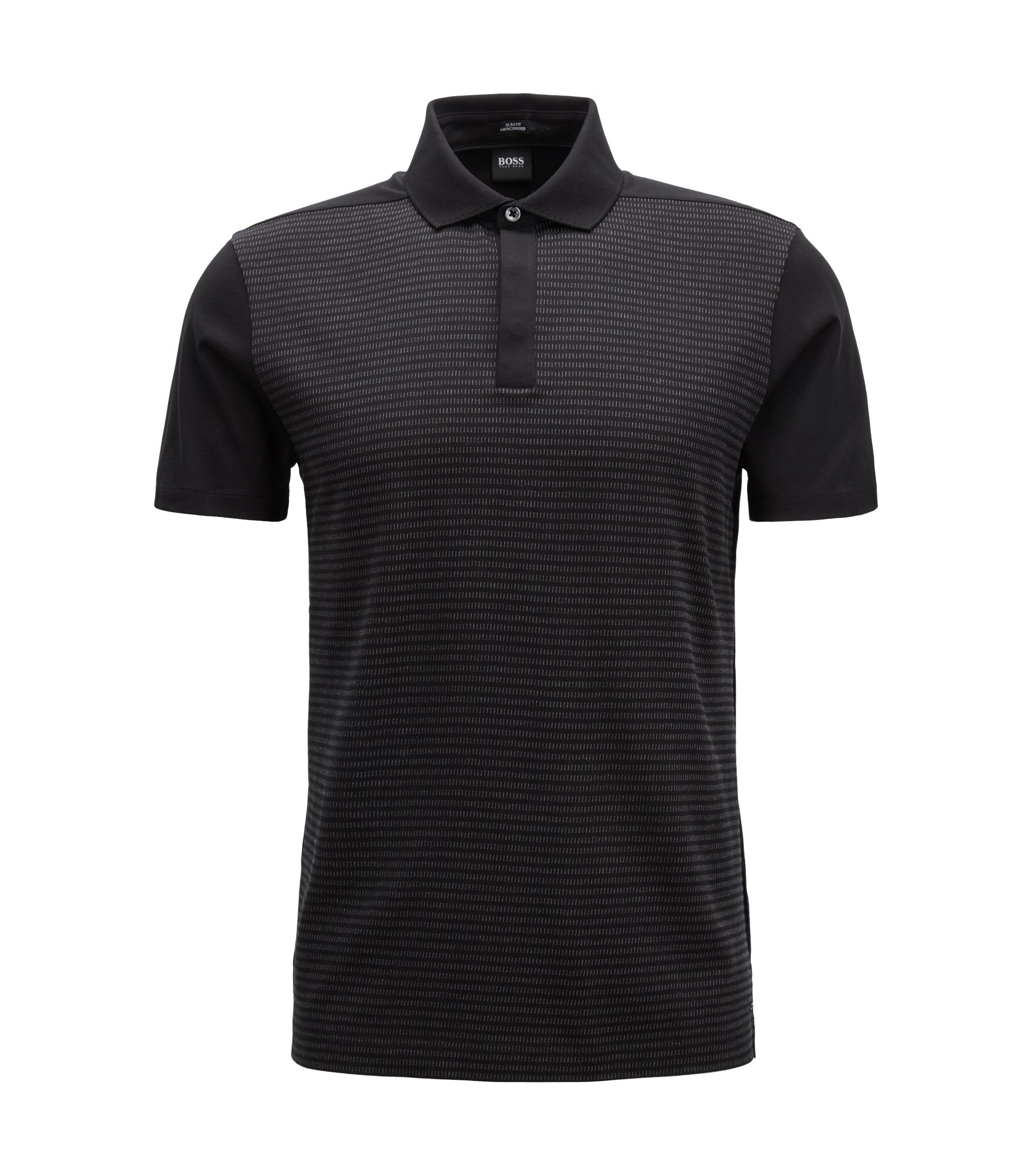 Slim-fit polo shirt in mercerized-cotton jacquard, Black