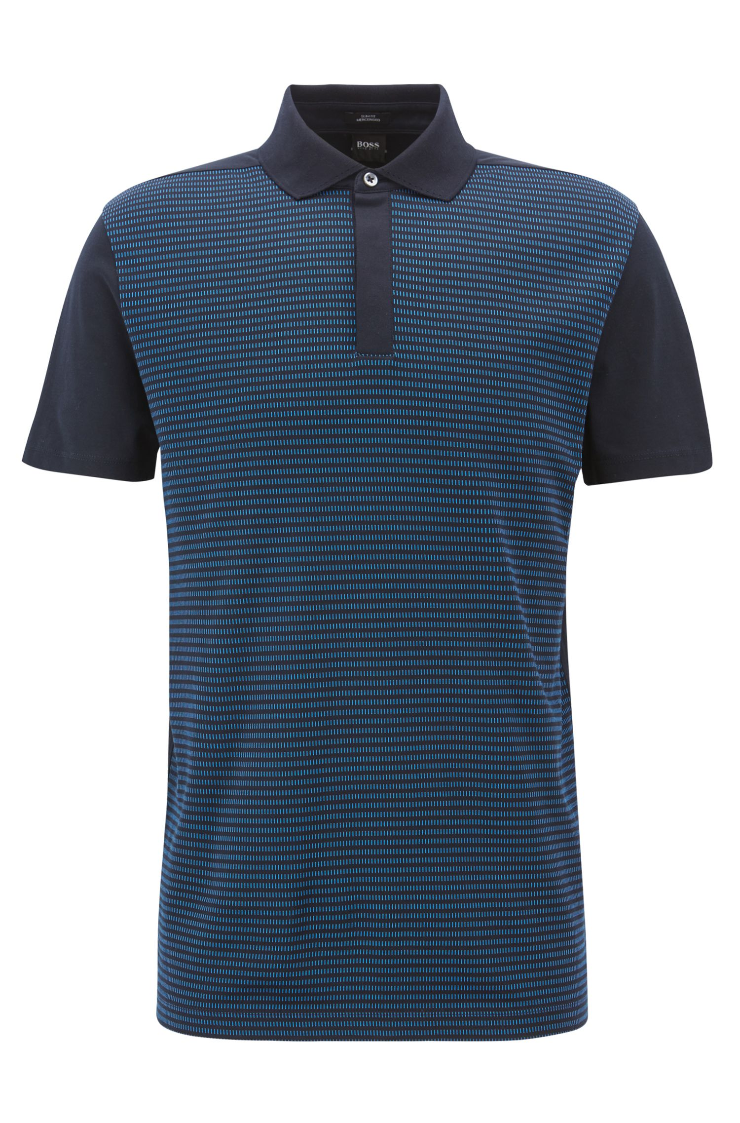 Slim-fit polo shirt in mercerized-cotton jacquard, Open Blue