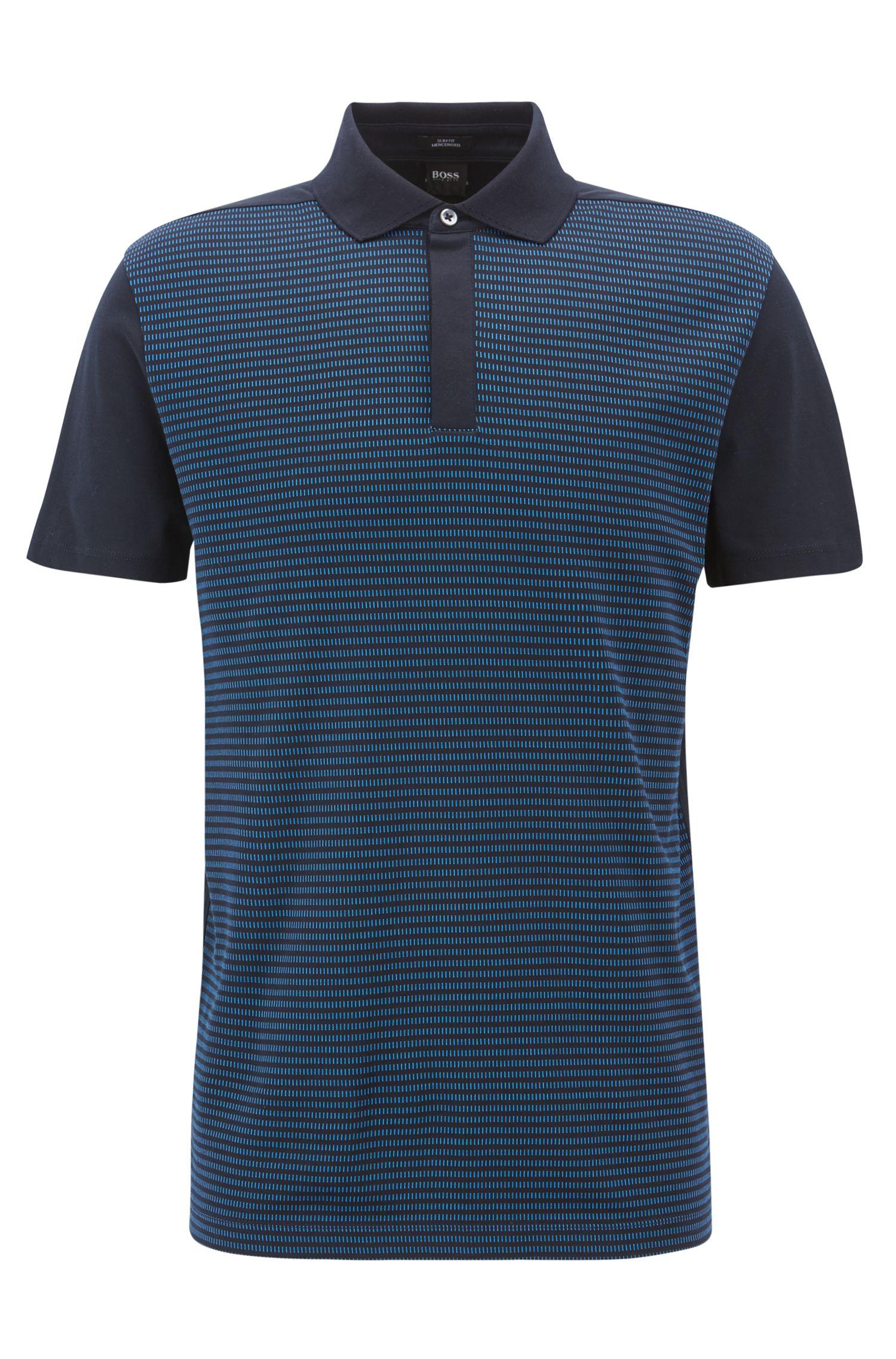 Slim-fit polo shirt in mercerized-cotton jacquard, Open Blue