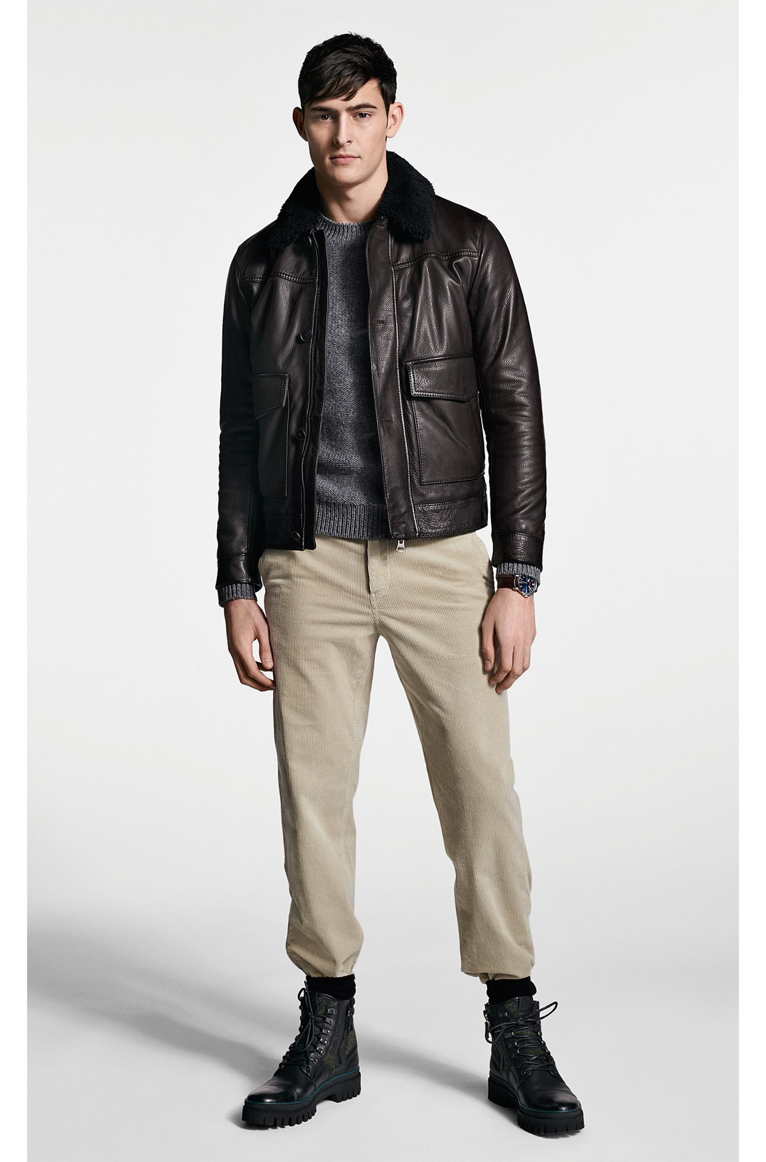 Slim-fit aviator jacket in milled leather with shearling collar, Dark Brown