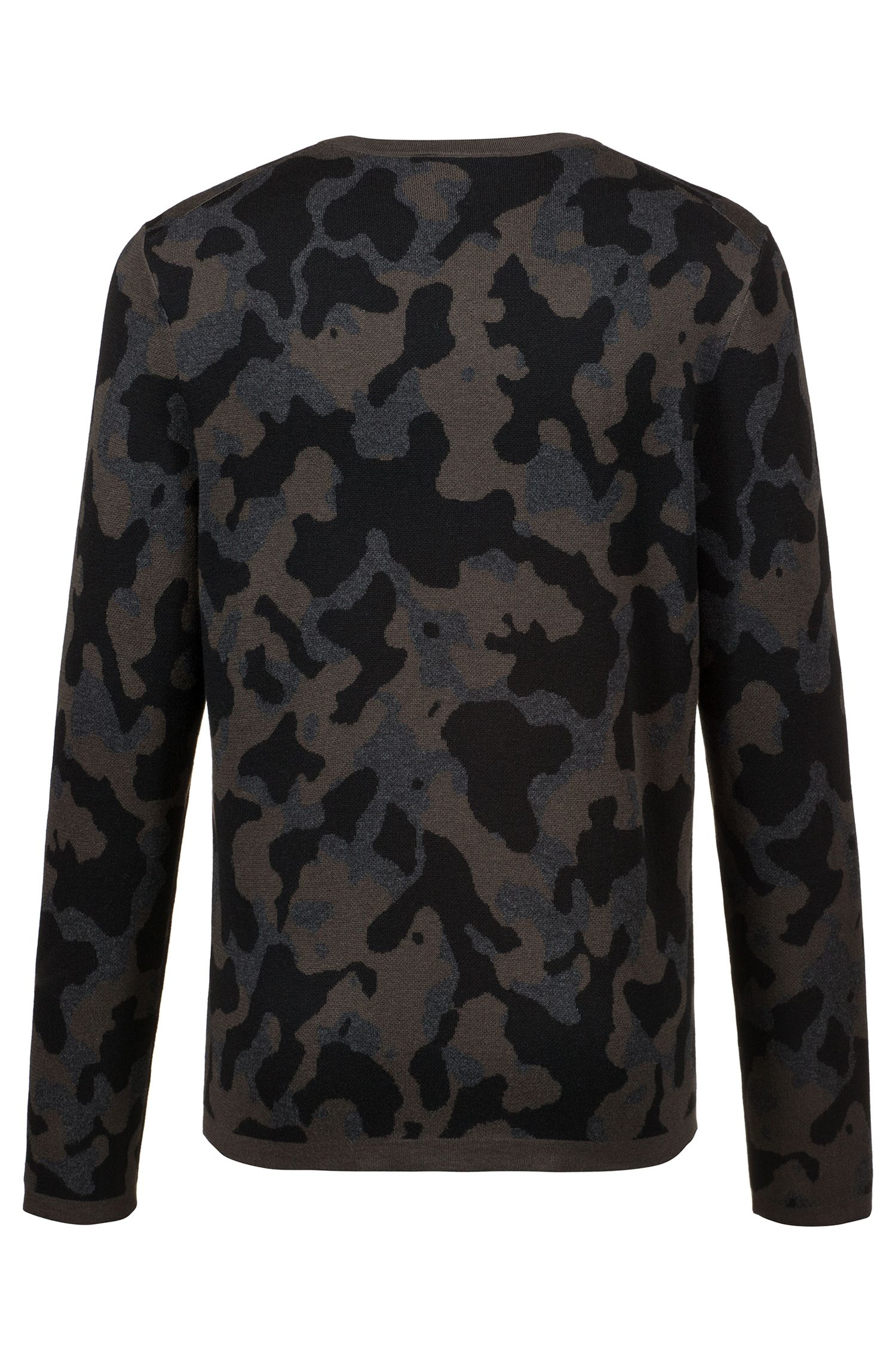 Crew-neck sweater in cotton-blend three-color jacquard, Dark Green