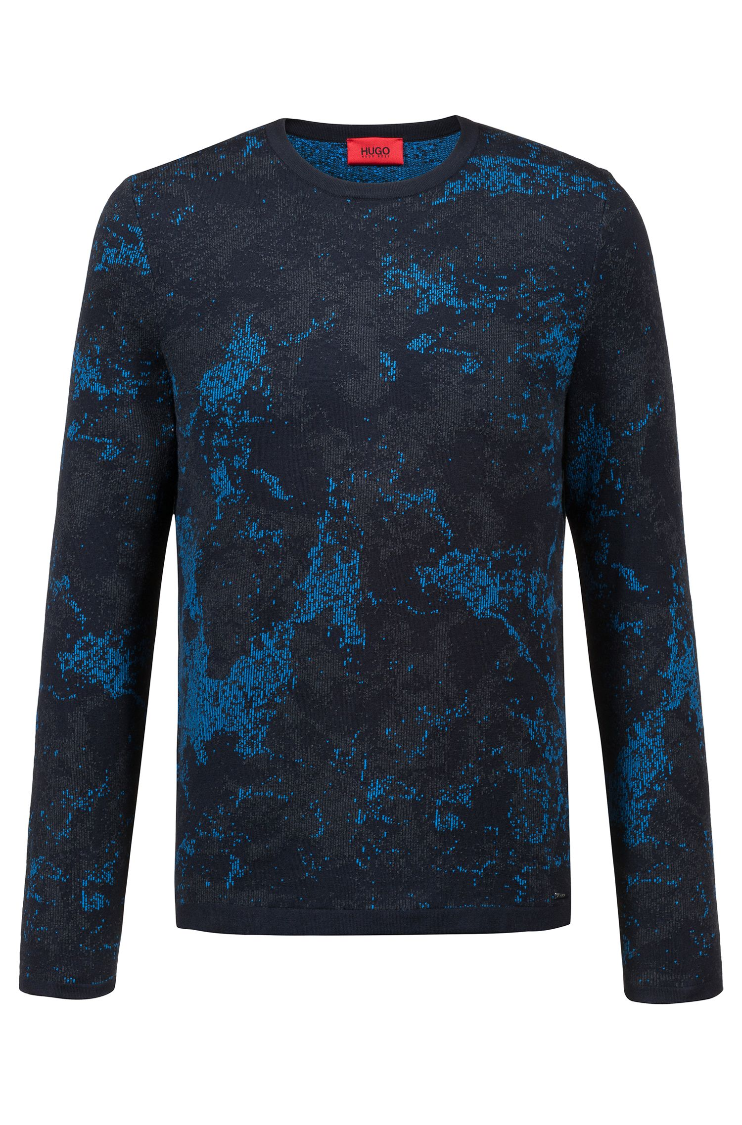 Crew-neck sweater in cotton-blend three-color jacquard, Dark Blue