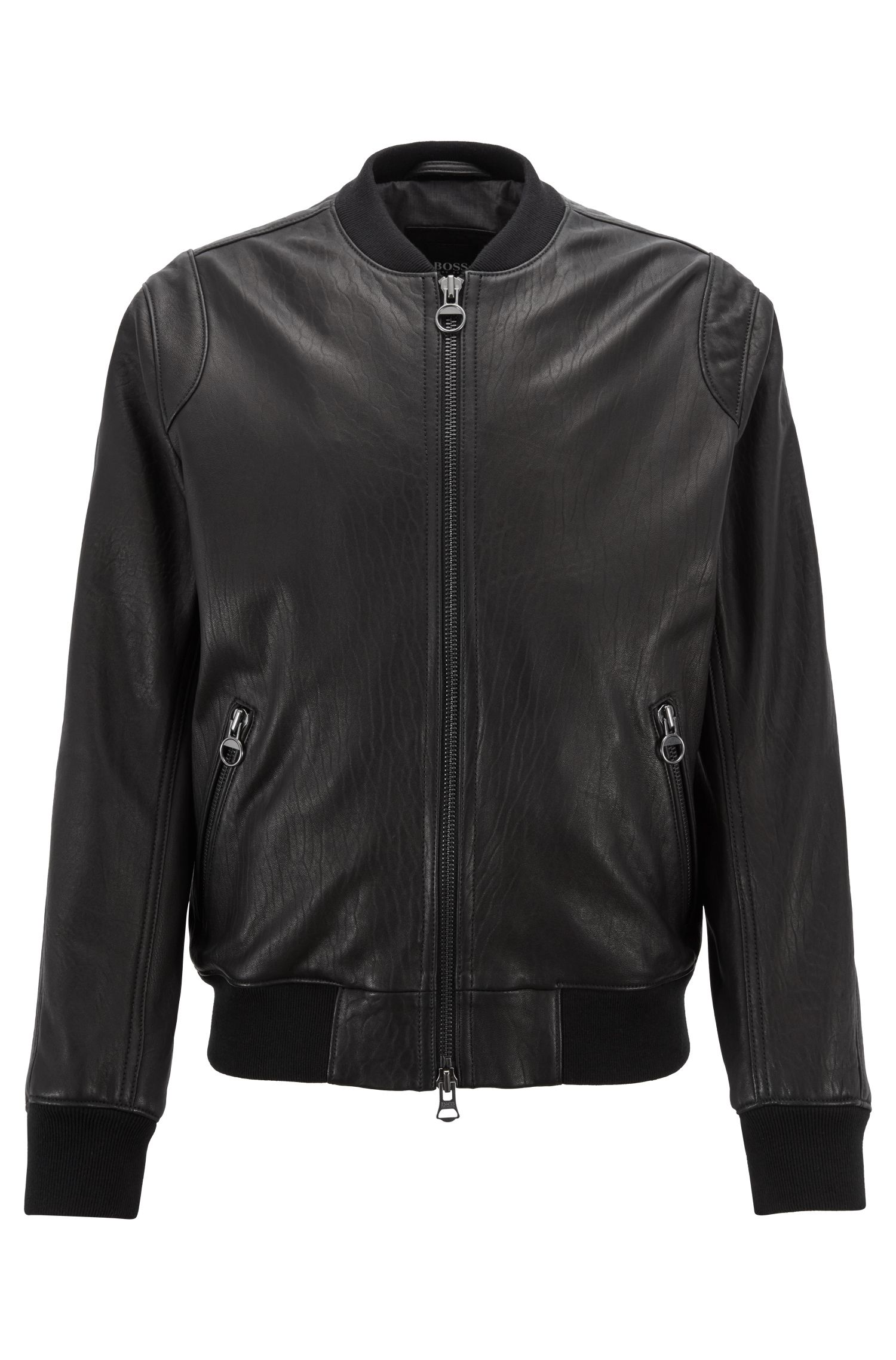 Slim-fit bomber jacket in New Zealand lambskin, Black