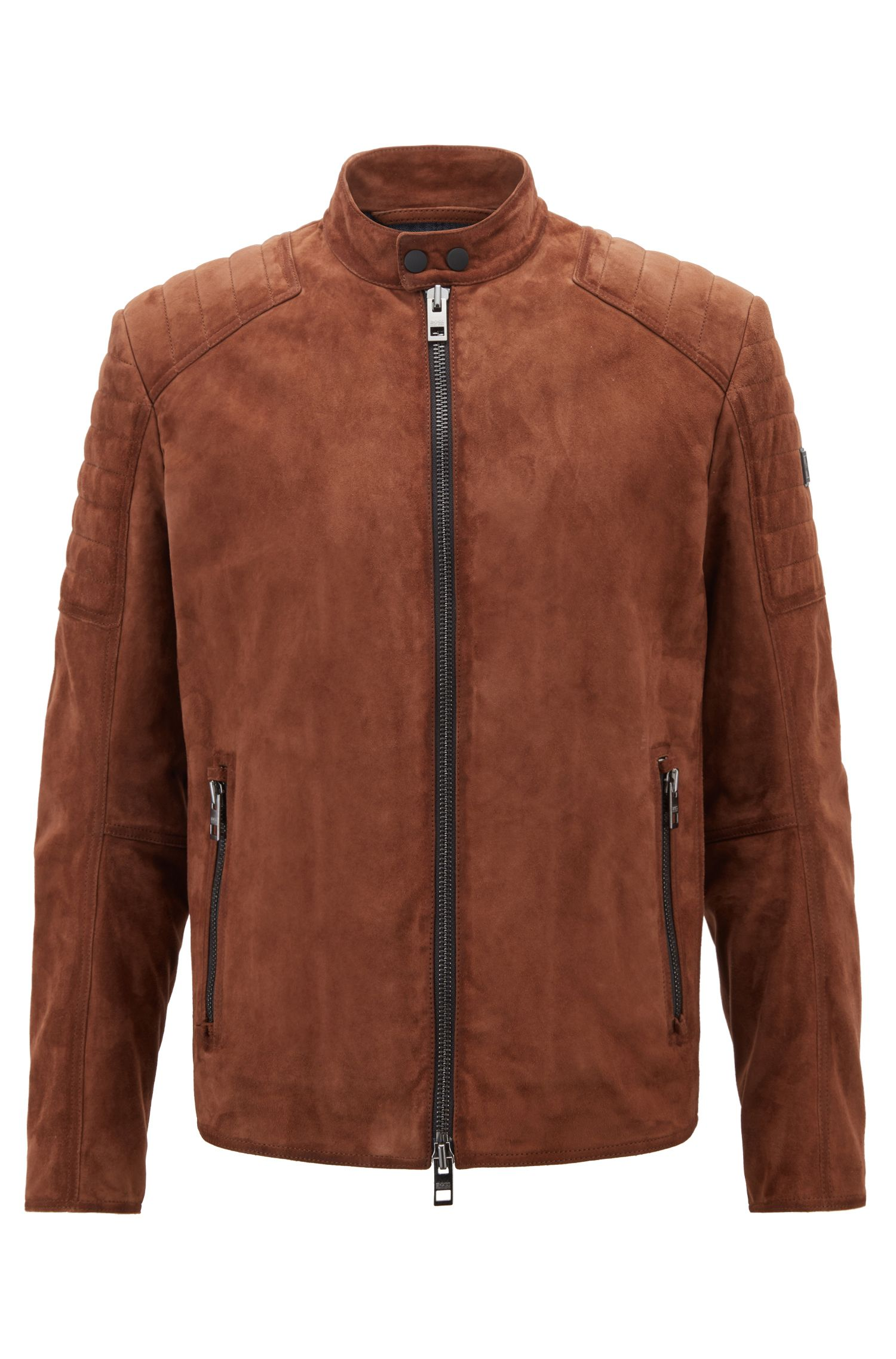 Slim-fit biker jacket with hand-treated suede outer, Khaki