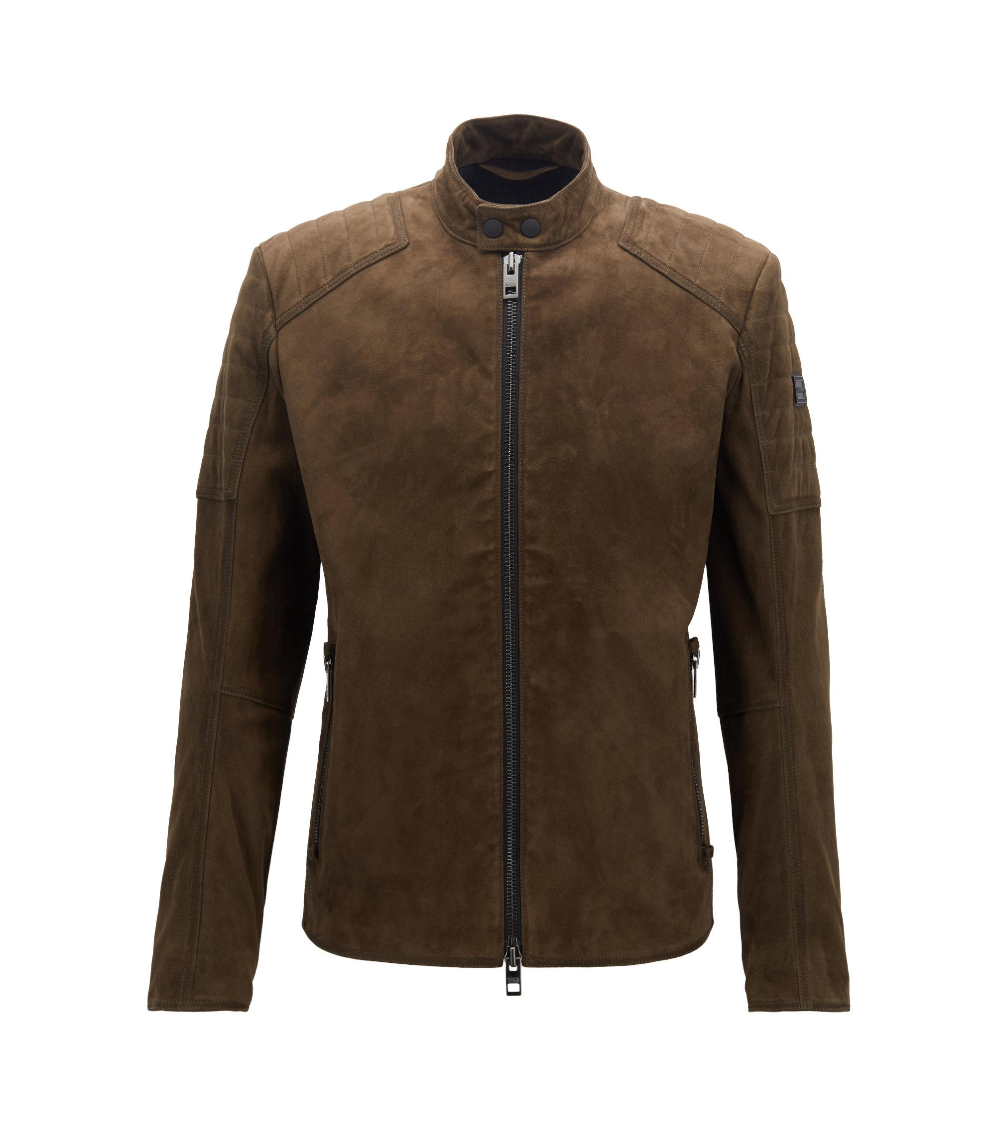 Slim-fit biker jacket with hand-treated suede outer, Dark Green