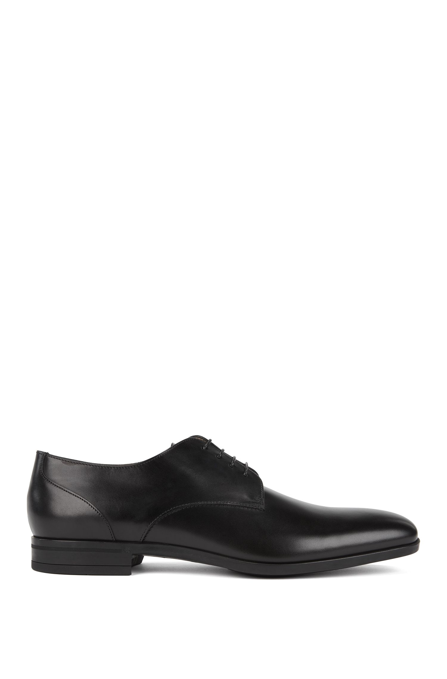 Calf-leather Derby shoes with polished uppers, Black